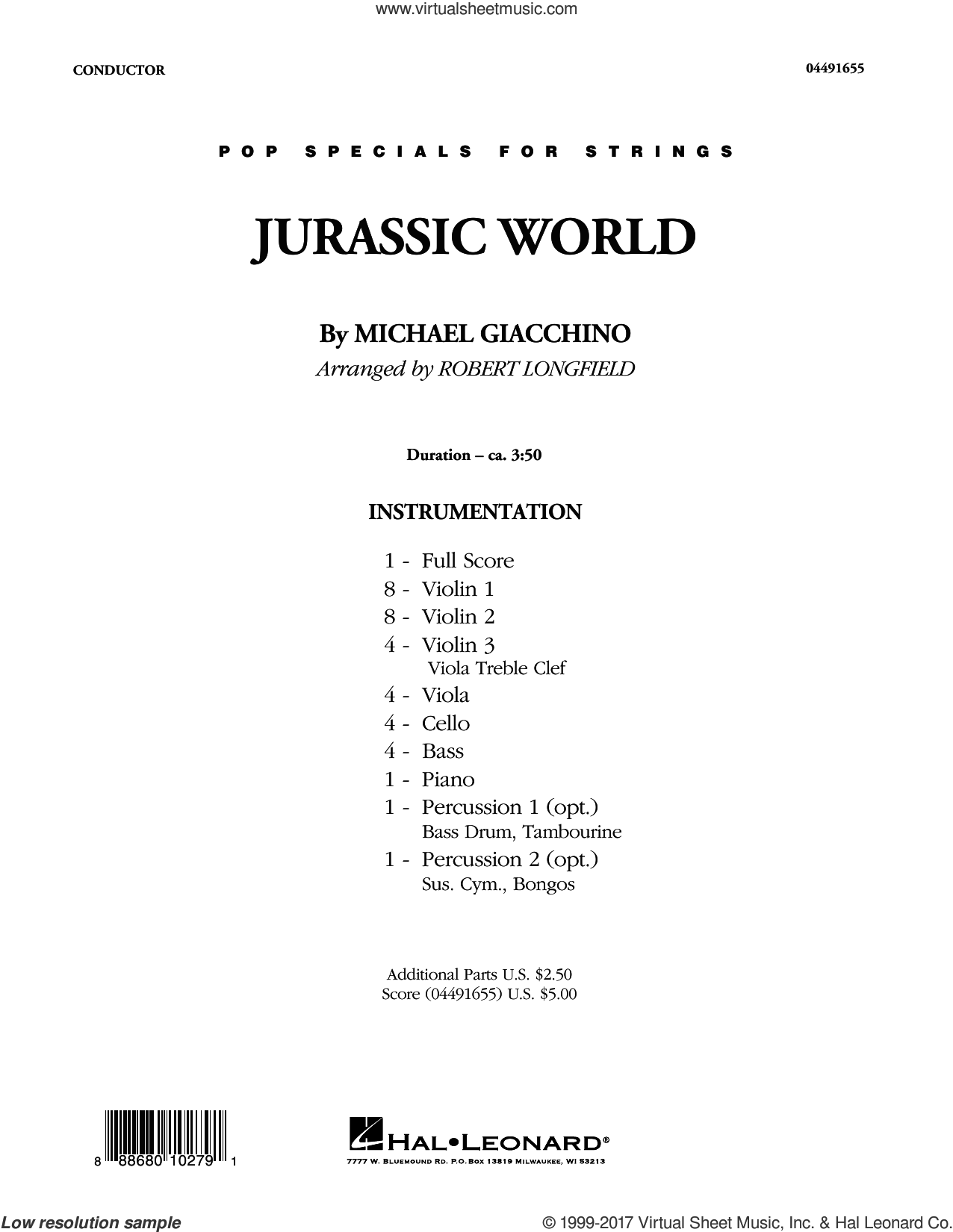 Jurassic World (COMPLETE) sheet music for orchestra by Robert Longfield and Michael Giacchino, intermediate skill level