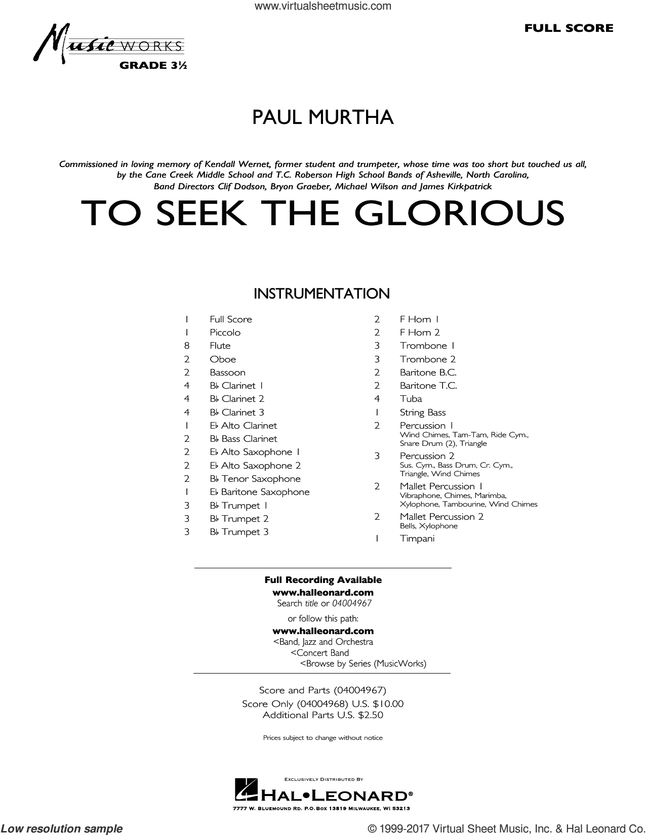 To Seek the Glorious sheet music for concert band (full score) by Paul Murtha. Score Image Preview.