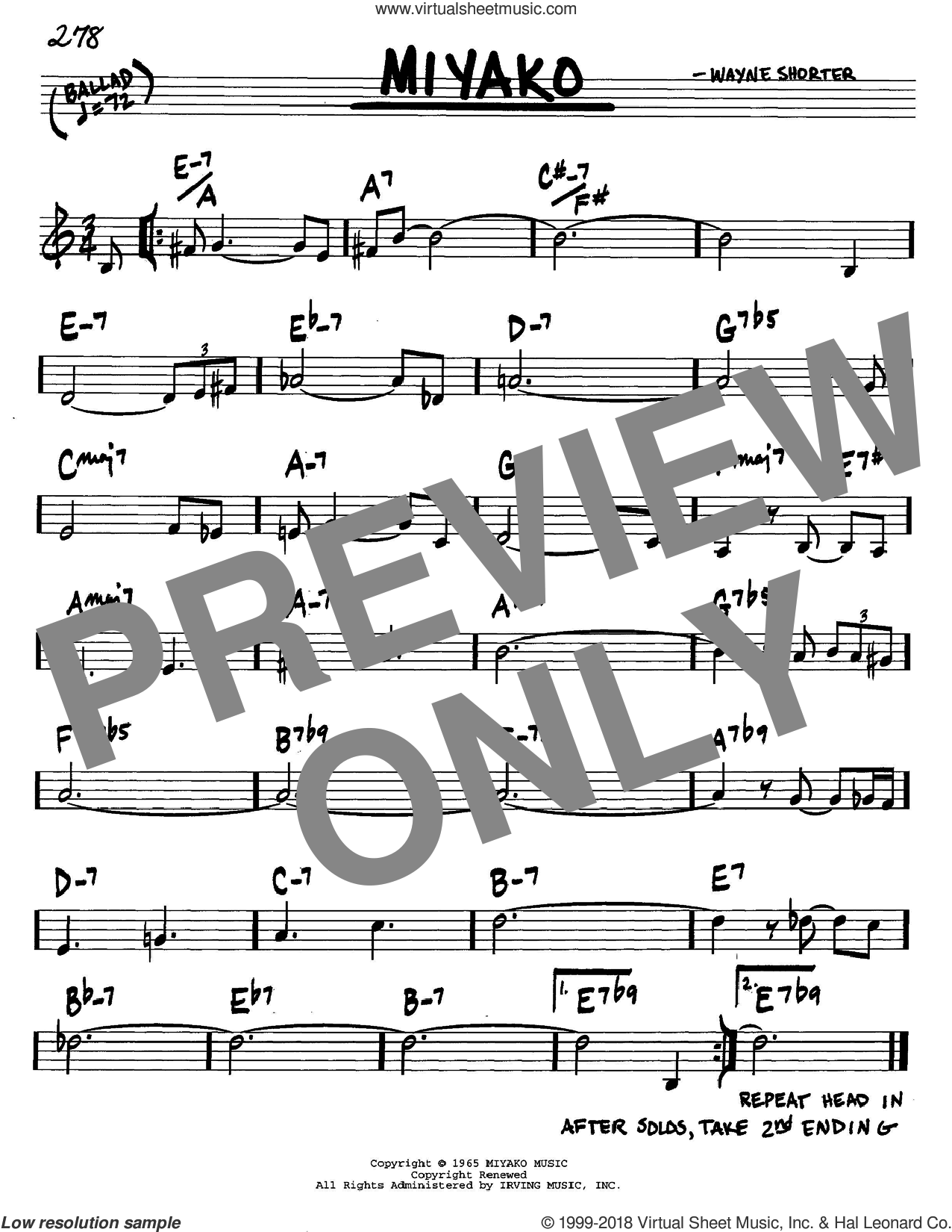 Miyako sheet music for voice and other instruments (C) by Wayne Shorter, intermediate voice. Score Image Preview.