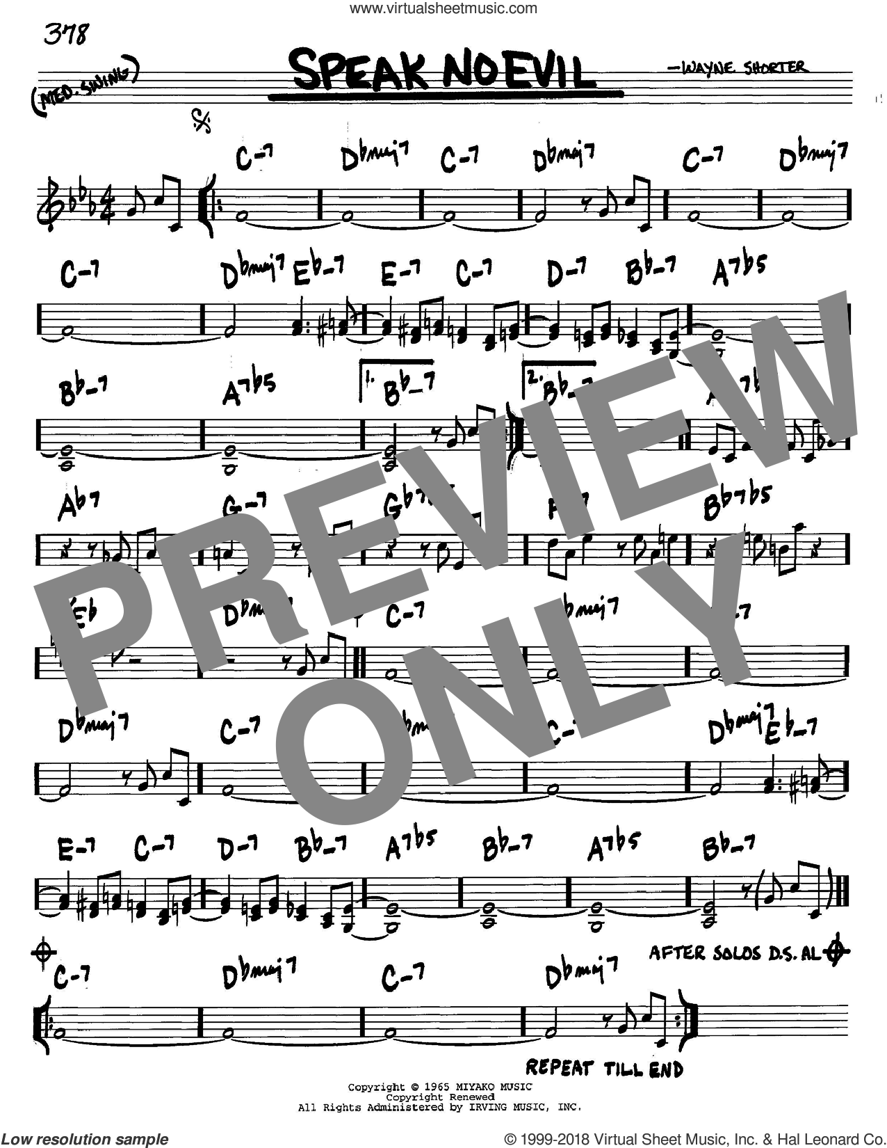 Speak No Evil sheet music for voice and other instruments (C) by Wayne Shorter. Score Image Preview.