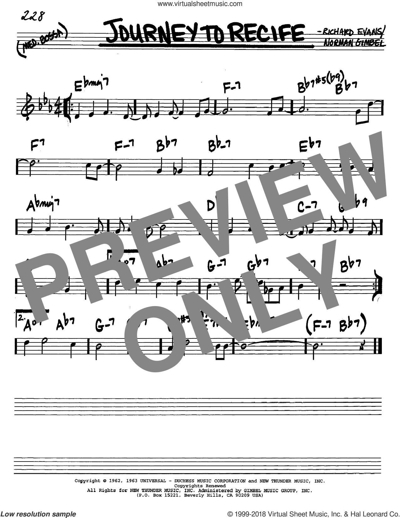Journey To Recife sheet music for voice and other instruments (C) by Richard Evans and Norman Gimbel. Score Image Preview.