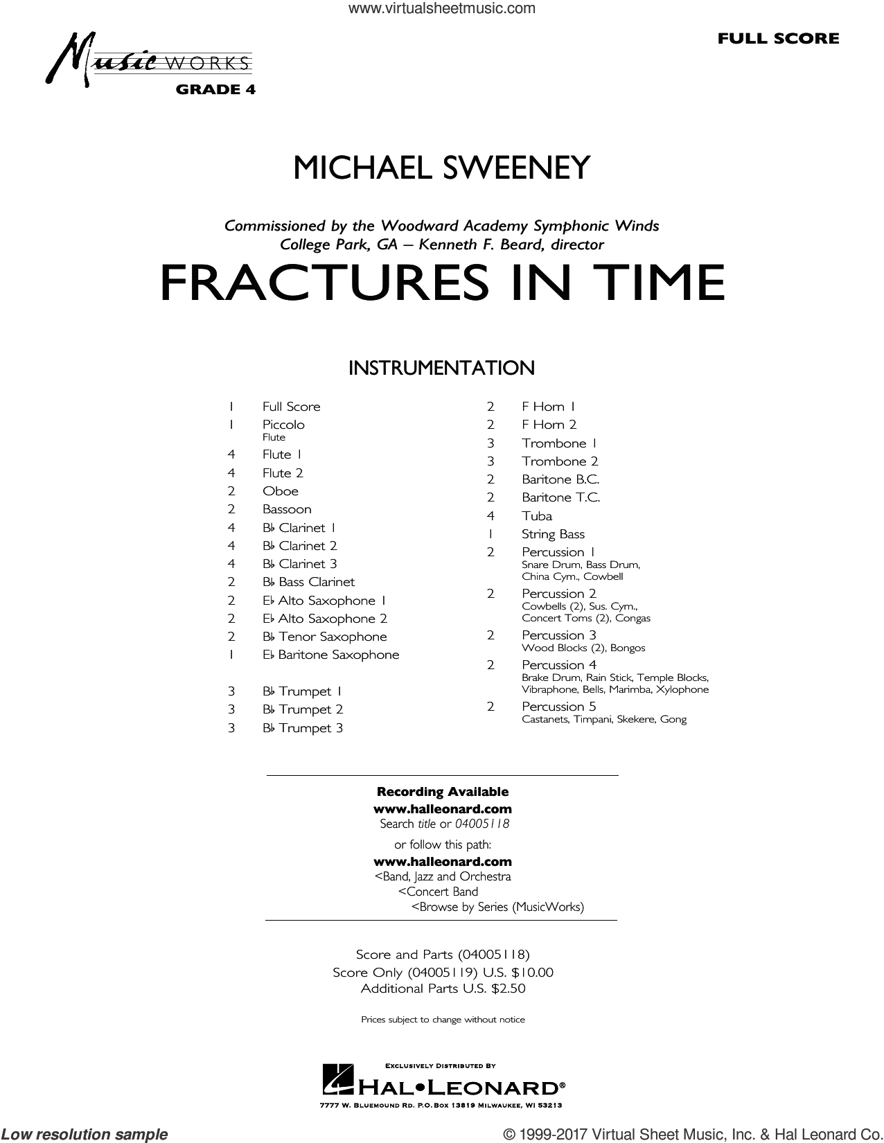 Fractures in Time (COMPLETE) sheet music for concert band by Michael Sweeney, intermediate. Score Image Preview.