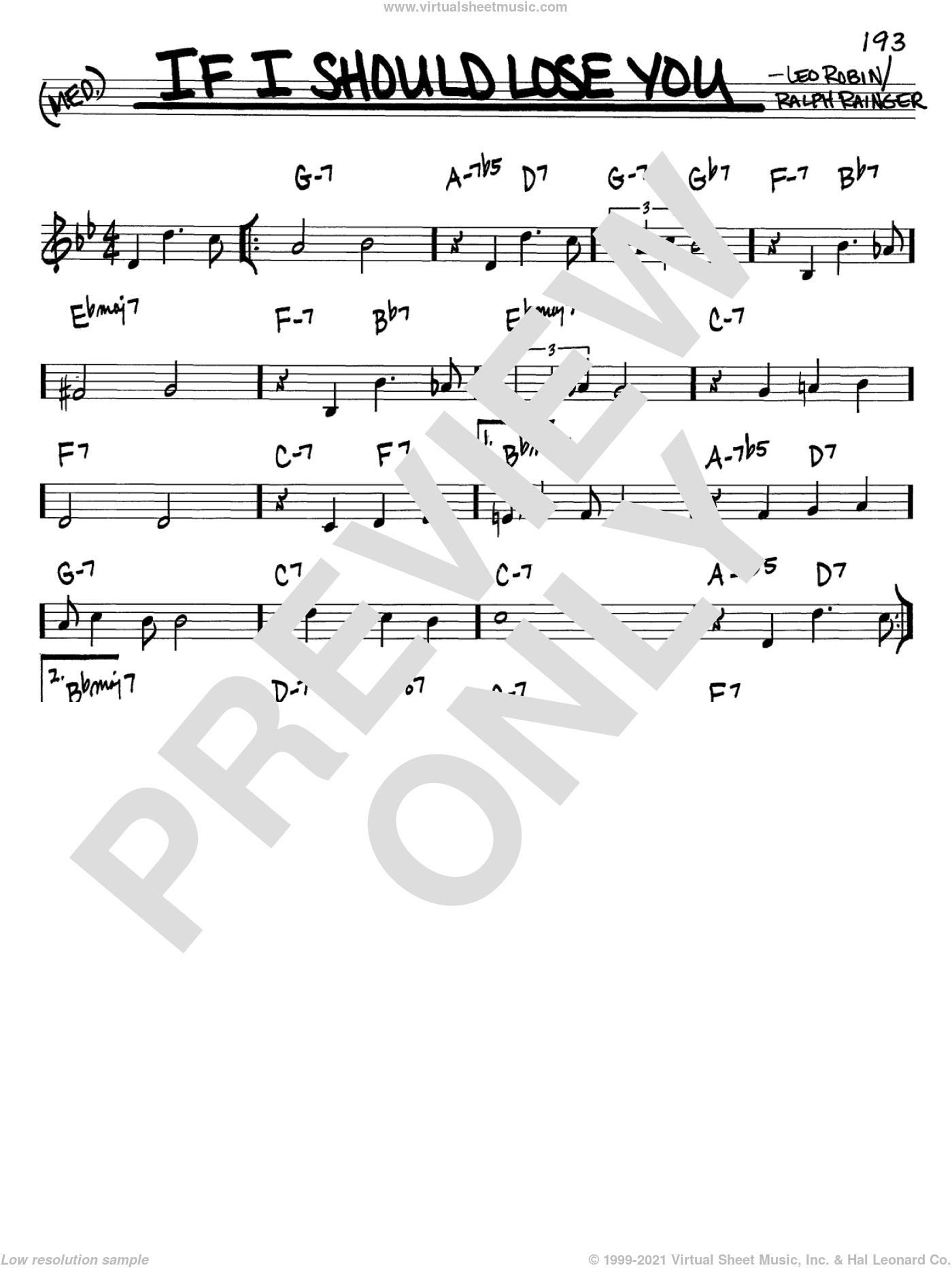 If I Should Lose You sheet music for voice and other instruments (C) by Leo Robin