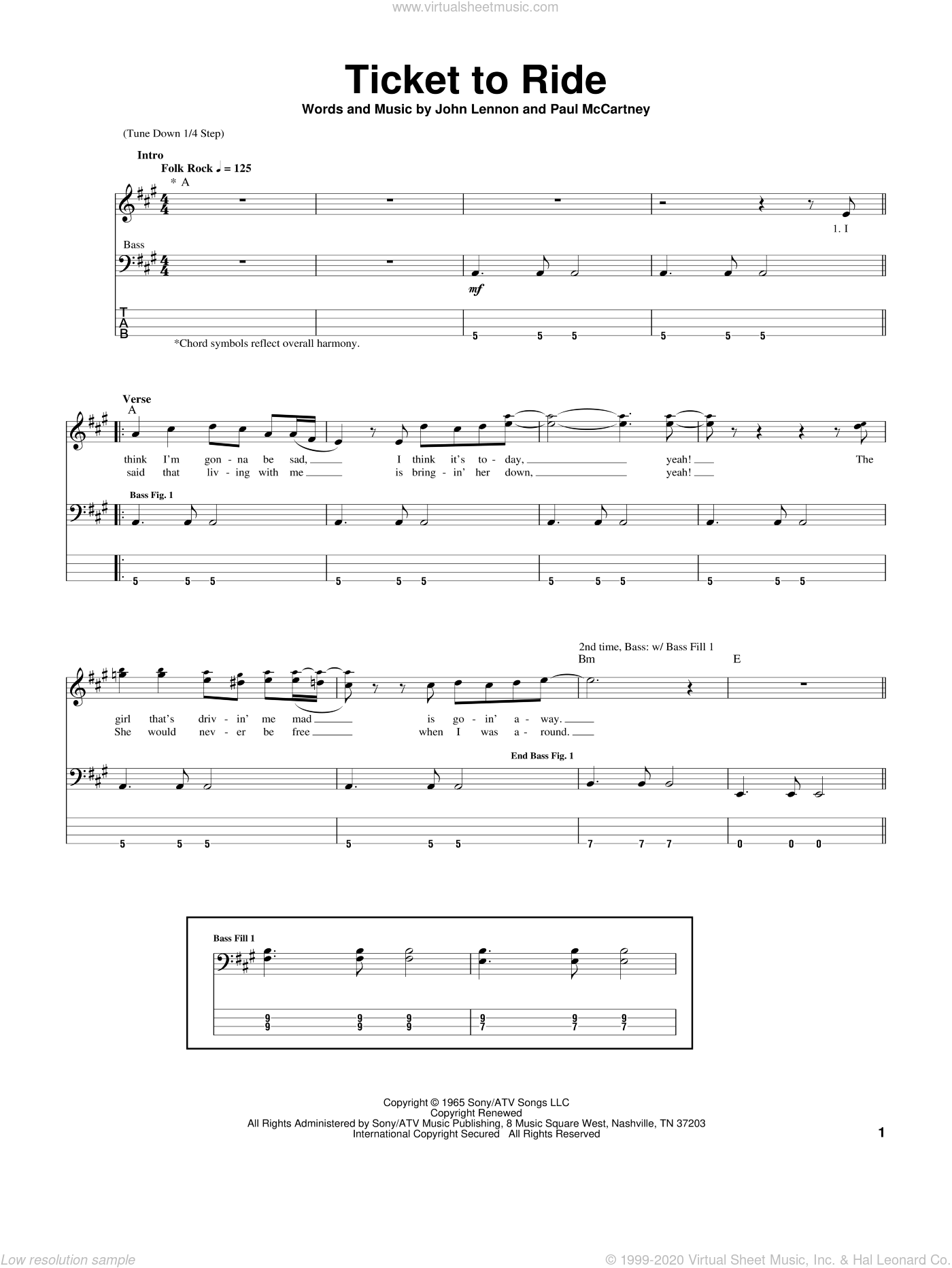 Ticket To Ride sheet music for bass (tablature) (bass guitar) by Paul McCartney, The Beatles and John Lennon. Score Image Preview.