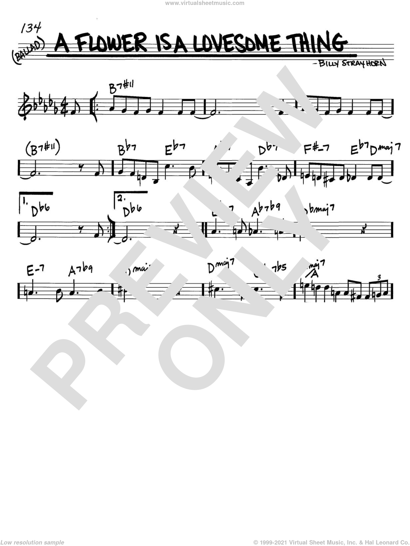 A Flower Is A Lovesome Thing sheet music for voice and other instruments (C) by Billy Strayhorn, intermediate voice. Score Image Preview.