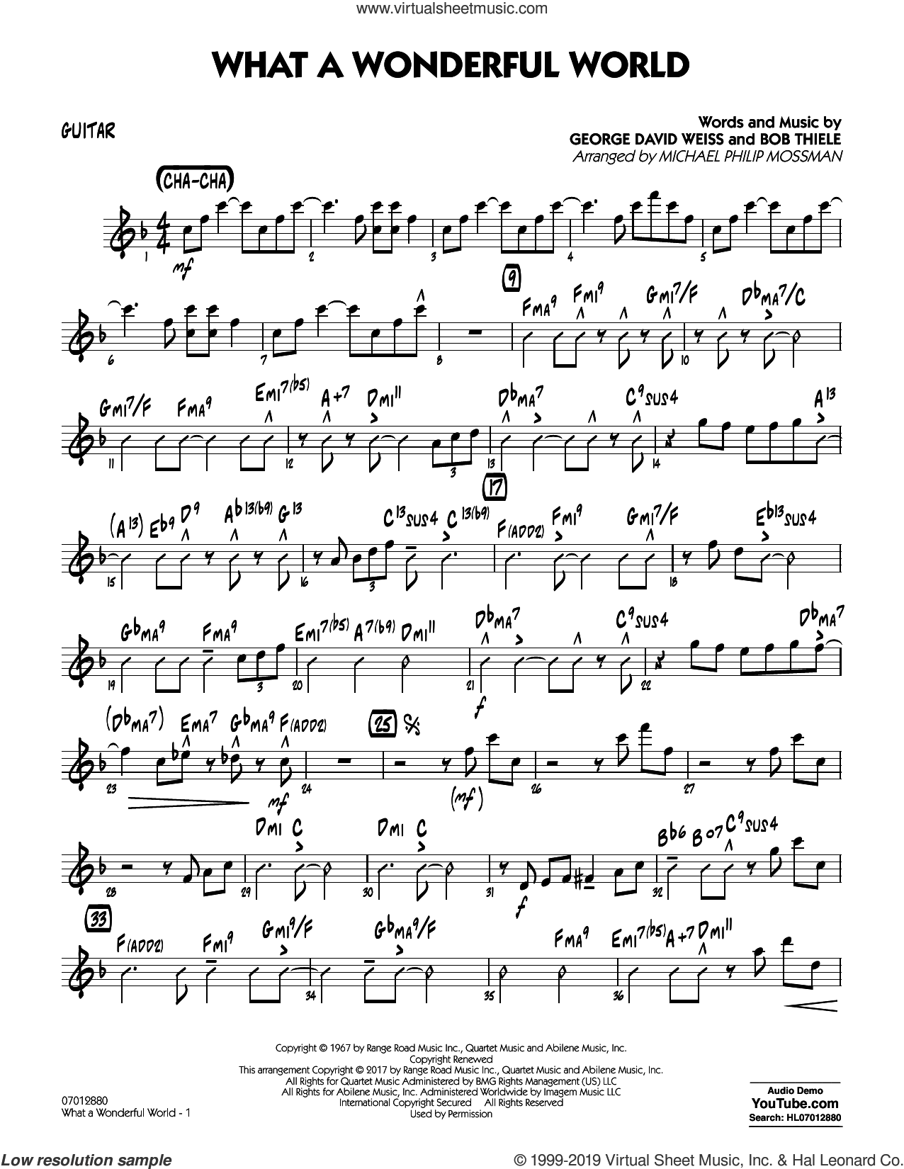 What A Wonderful World Dl sheet music for jazz band (guitar) by George David Weiss, Michael Philip Mossman, Louis Armstrong and Bob Thiele, intermediate skill level