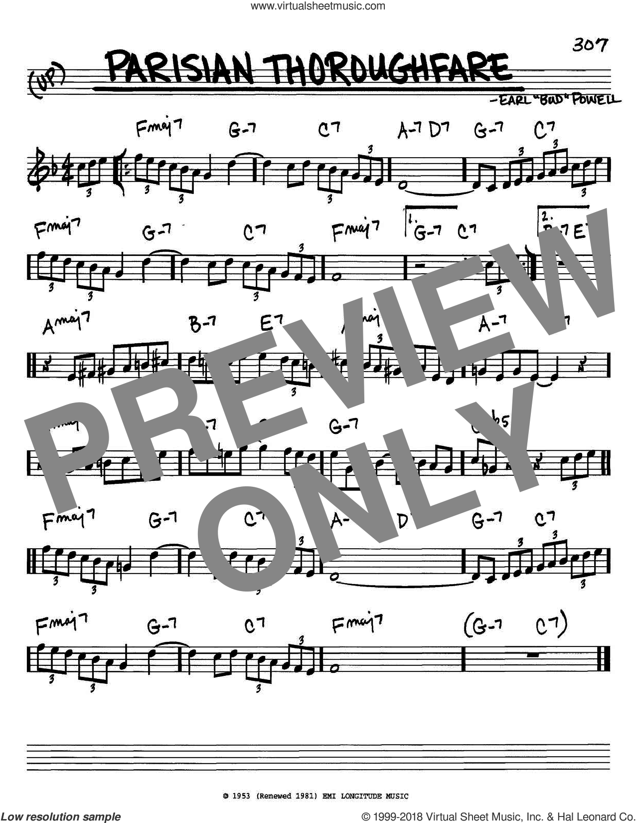 Parisian Thoroughfare sheet music for voice and other instruments (C) by Bud Powell, intermediate voice. Score Image Preview.