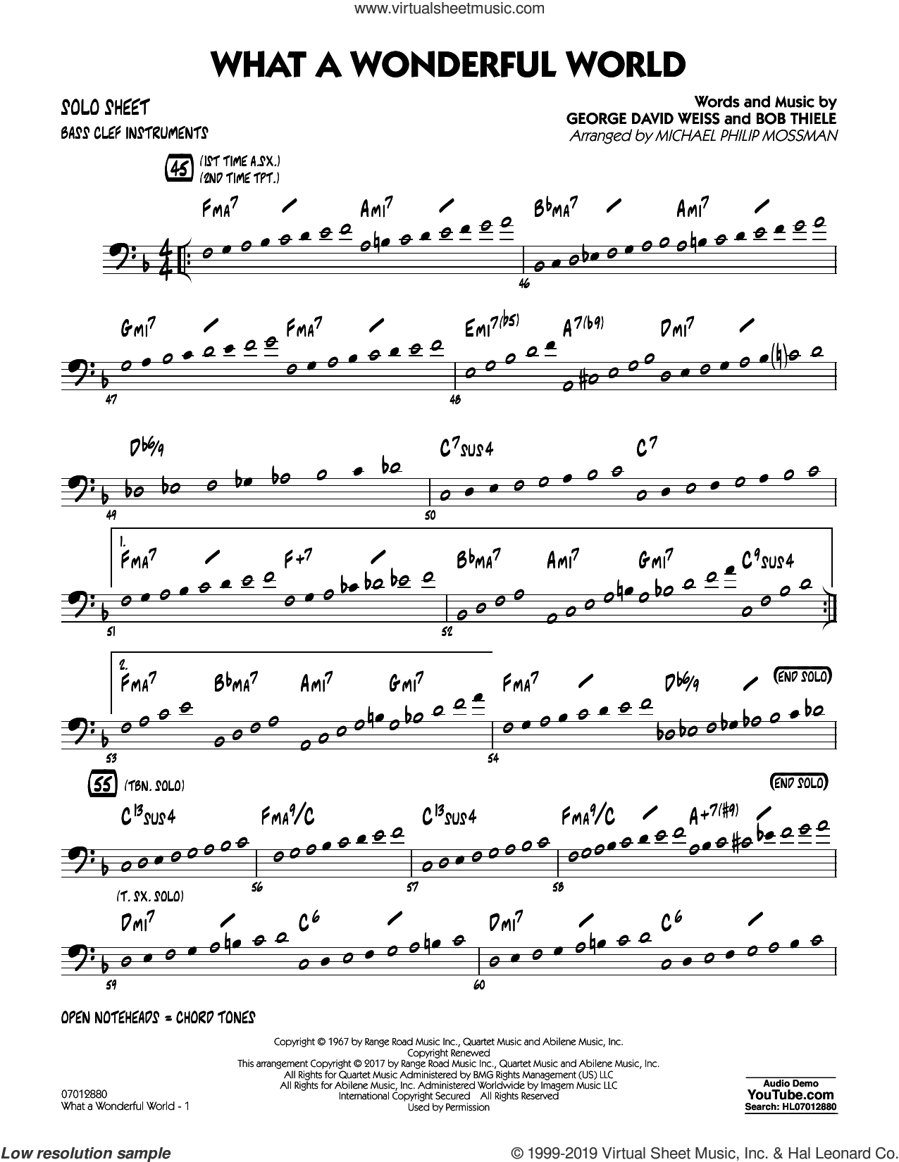 What A Wonderful World Dl sheet music for jazz band (bass clef solo sheet) by George David Weiss, Michael Philip Mossman, Louis Armstrong and Bob Thiele, intermediate jazz band (bass clef sheet)