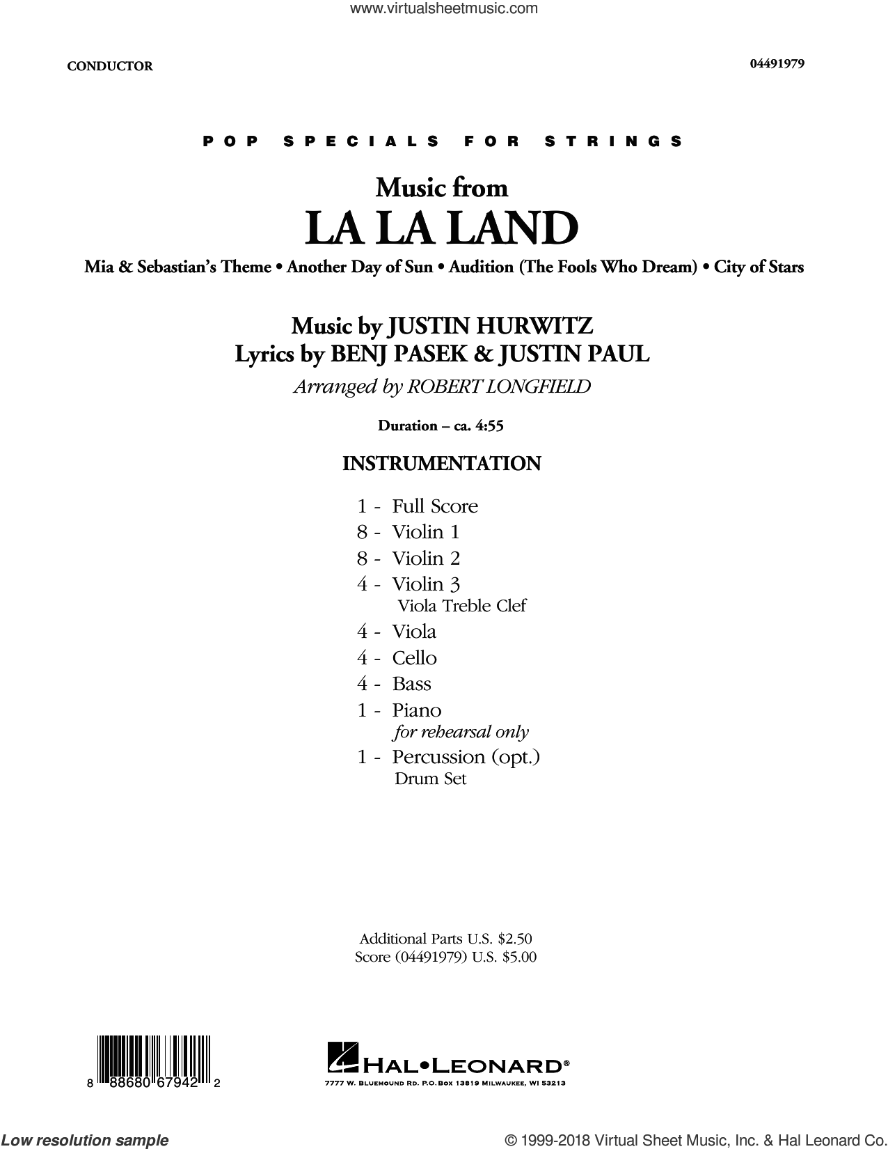 music from la la land string orchestra score and parts