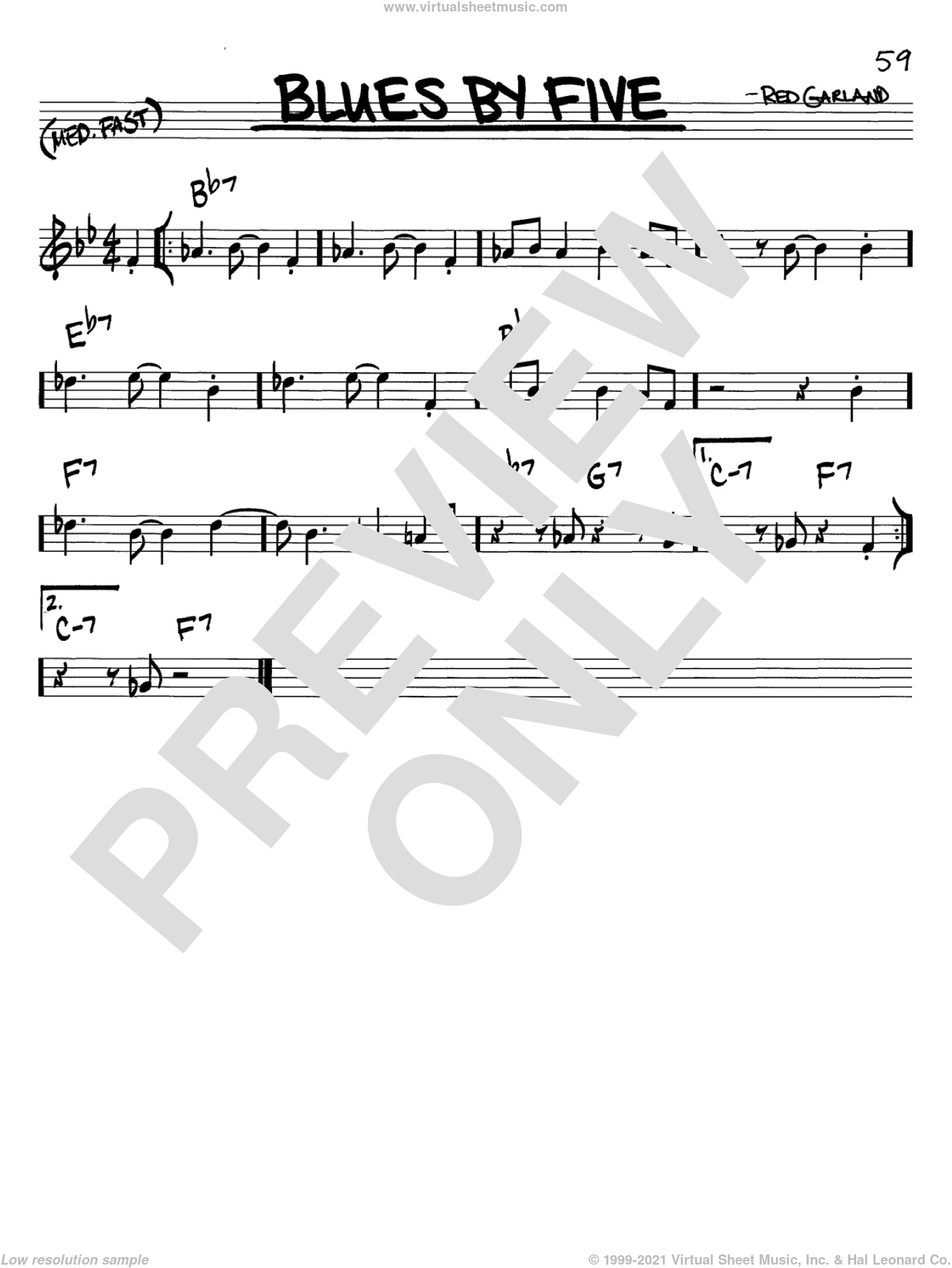 Blues By Five sheet music for voice and other instruments (in C) by Miles Davis and Red Garland, intermediate skill level