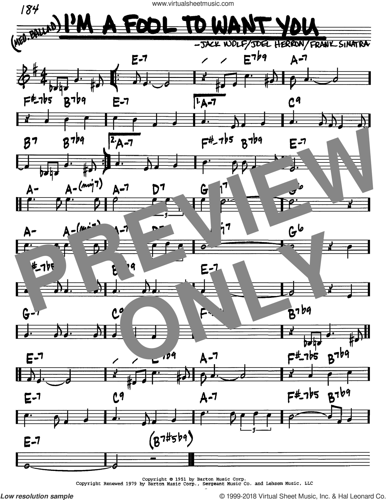 I'm A Fool To Want You sheet music for voice and other instruments (in C) by Frank Sinatra, Jack Wolf and Joel Herron, intermediate skill level