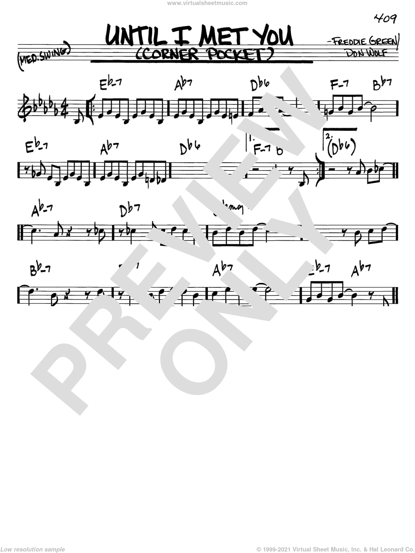 Until I Met You sheet music for voice and other instruments (in C) by Freddie Green and Don Wolf, intermediate skill level