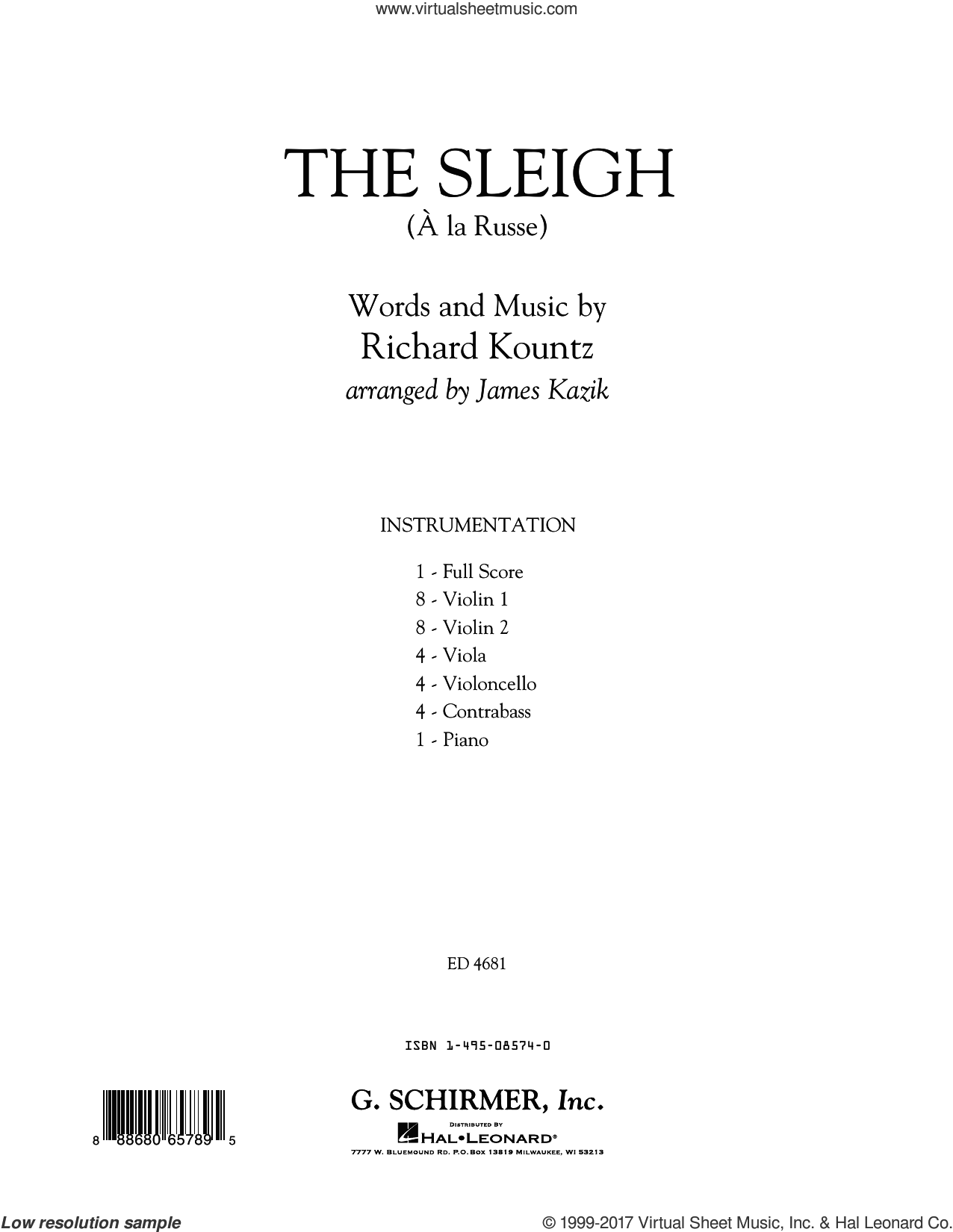 The Sleigh (A� La Russe) (COMPLETE) sheet music for orchestra by James Kazik and Richard Kountz, intermediate. Score Image Preview.