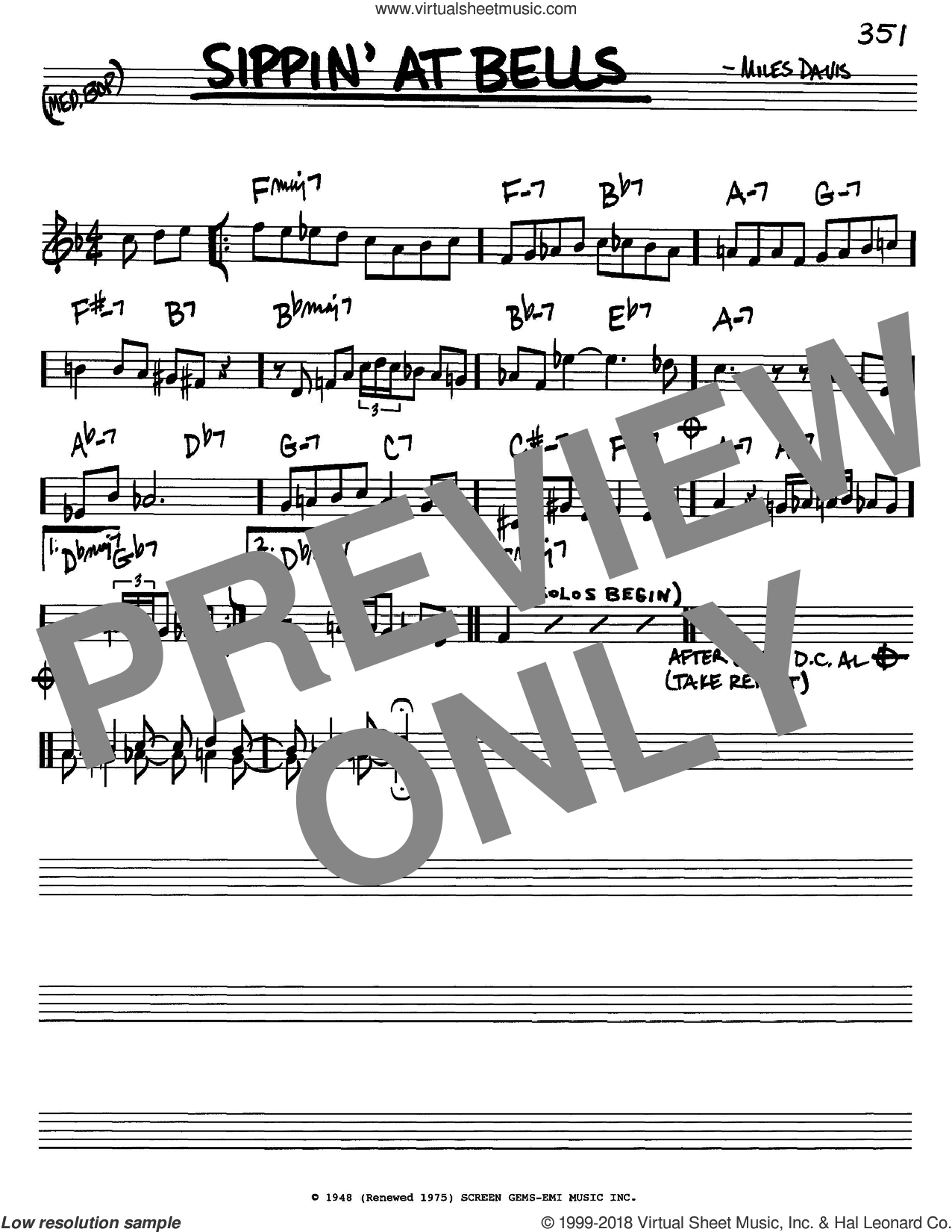 Sippin' At Bells sheet music for voice and other instruments (in C) by Miles Davis, intermediate skill level
