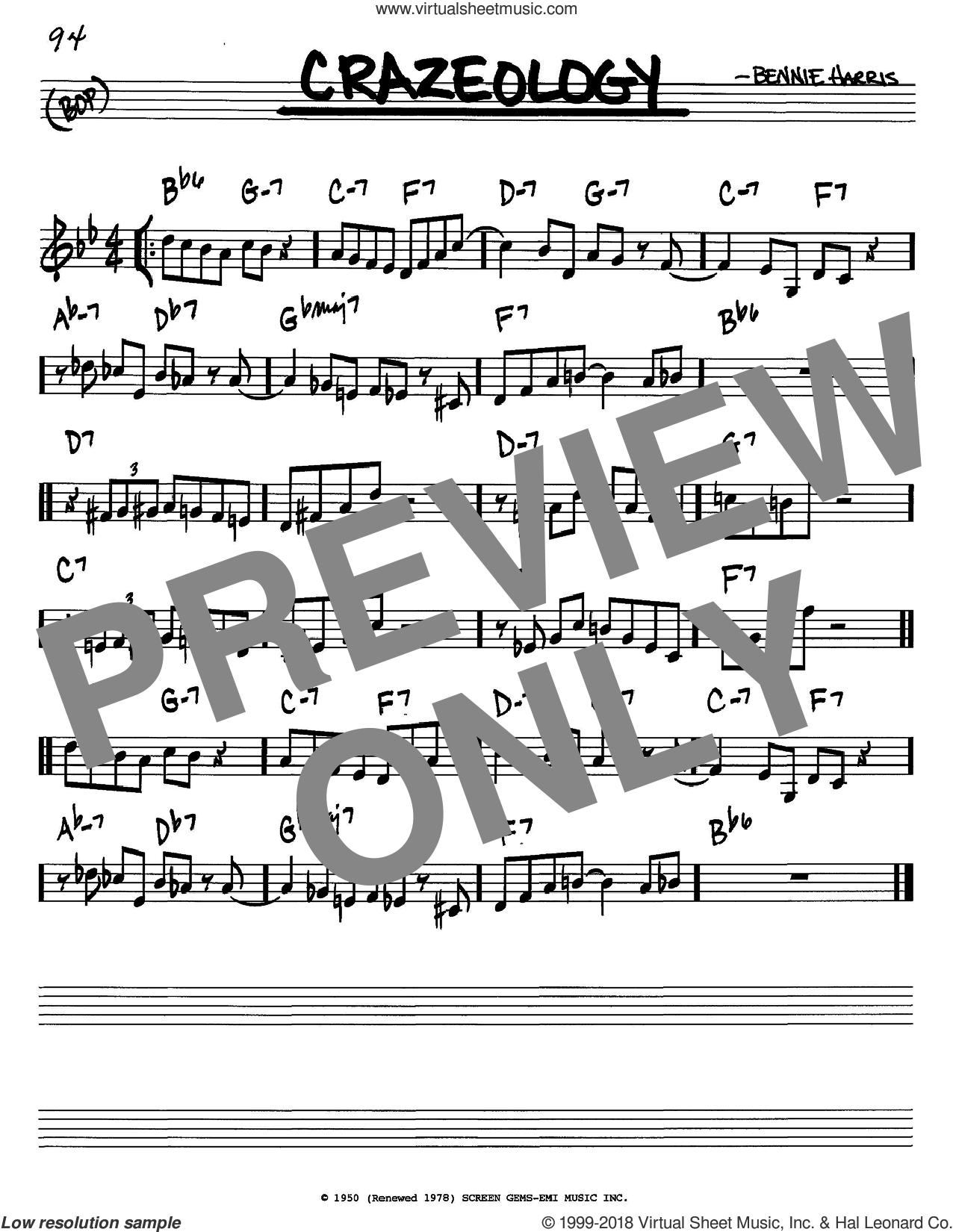 Crazeology sheet music for voice and other instruments (C) by Charlie Parker and Bennie Harris. Score Image Preview.