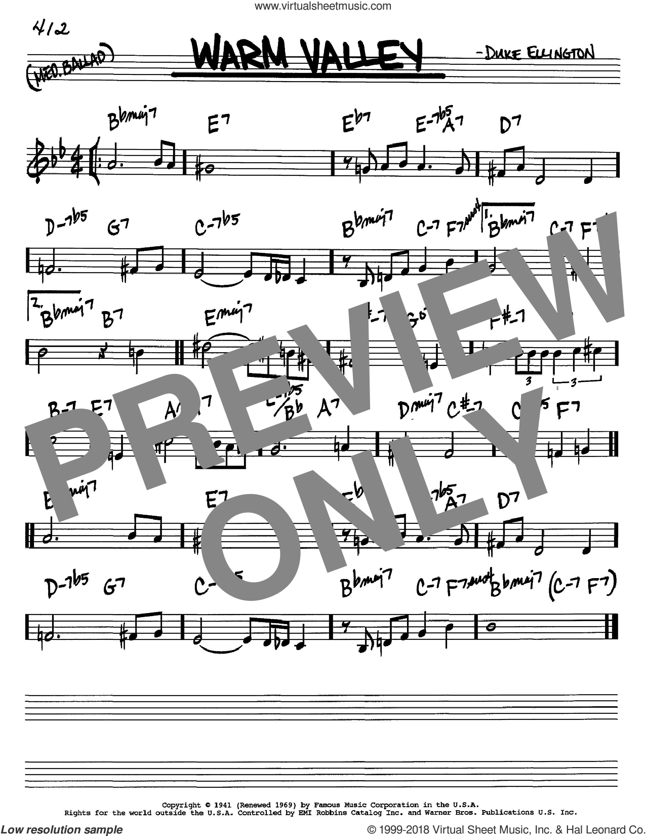 Warm Valley sheet music for voice and other instruments (in C) by Duke Ellington, intermediate