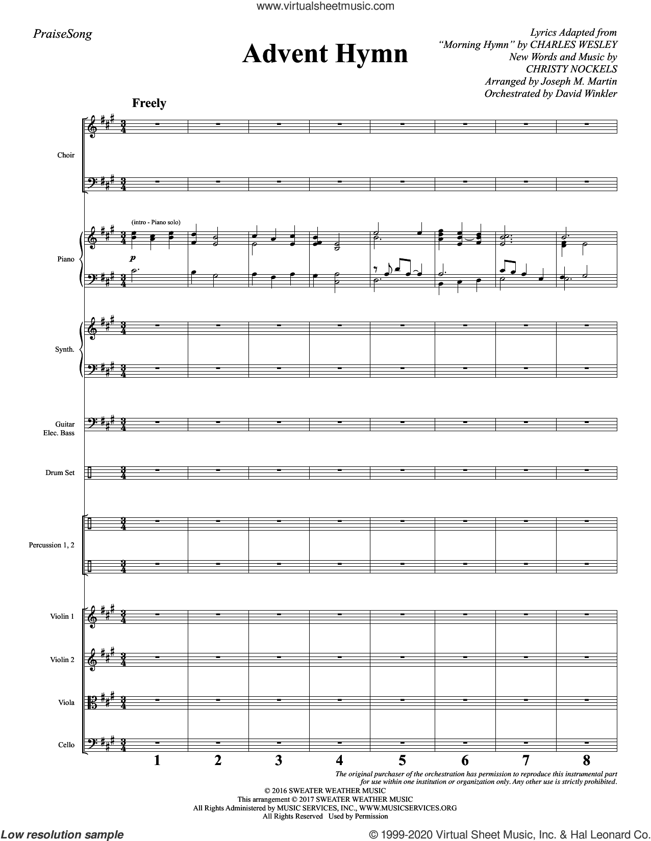 Advent Hymn (COMPLETE) sheet music for orchestra/band by Joseph M. Martin, Charles Wesley and Christy Nockels, intermediate skill level