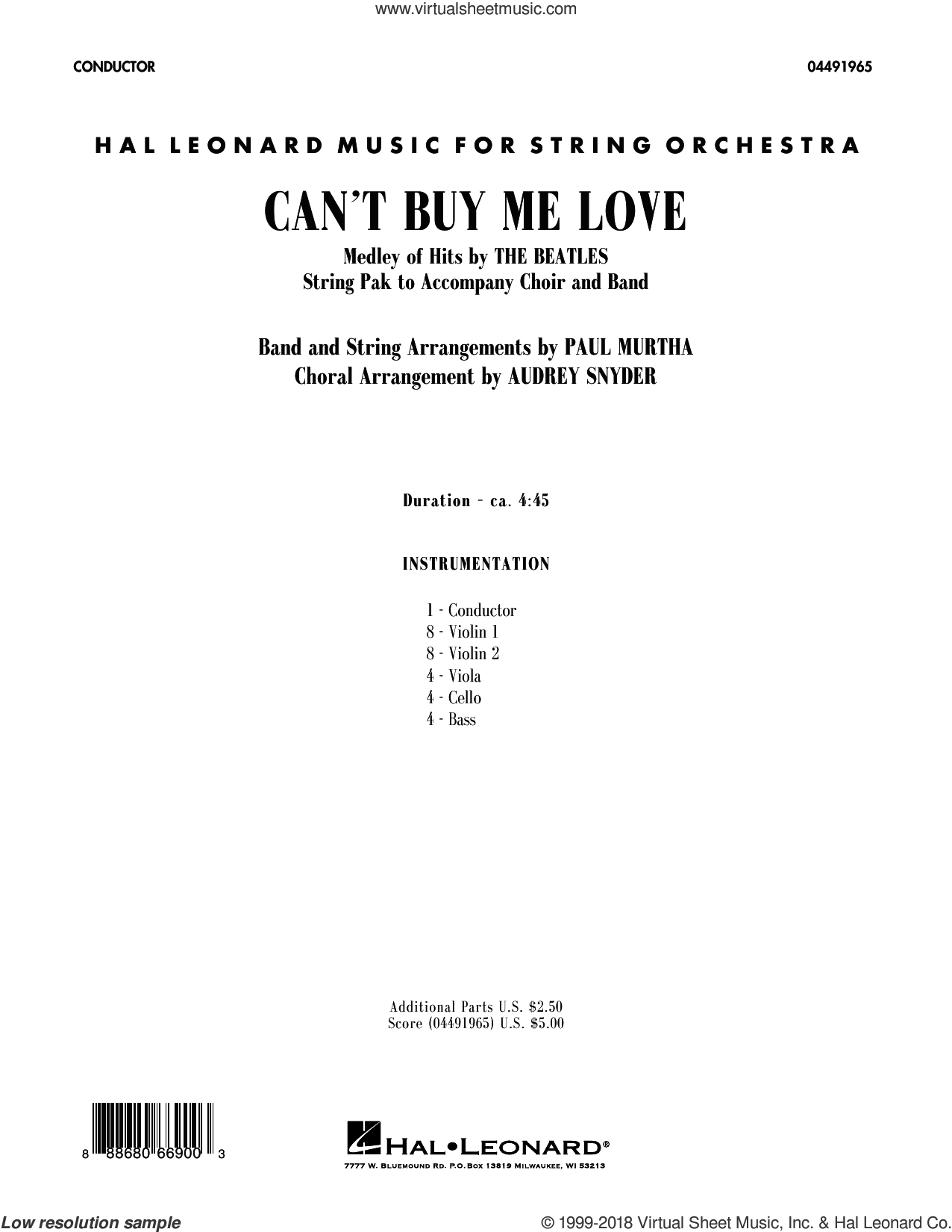Can't Buy Me Love (COMPLETE) sheet music for orchestra (Strings) by Paul McCartney, Audrey Snyder, Beatles, George Harrison, John Lennon and Paul Murtha, intermediate skill level