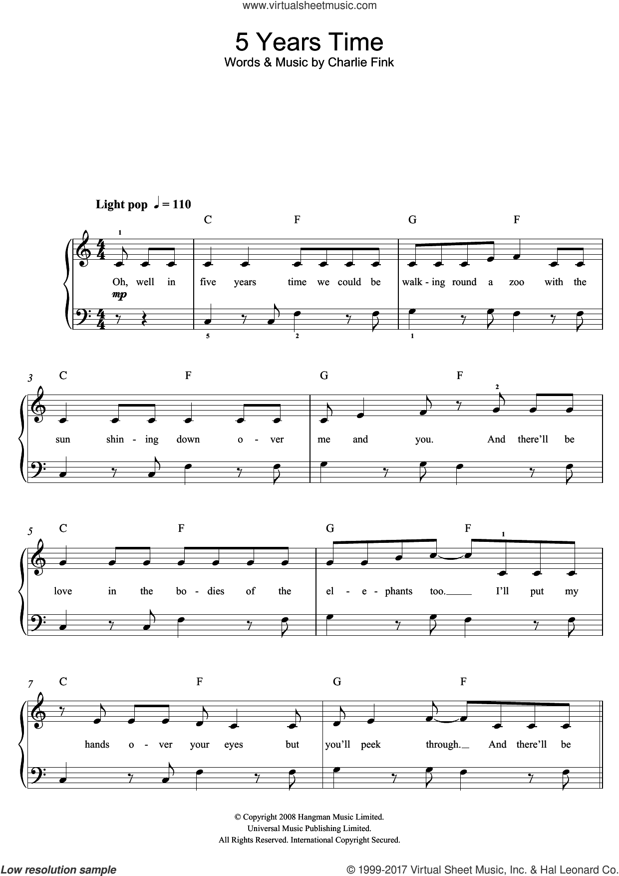 5 Years Time sheet music for piano solo (beginners) by Noah And The Whale and Charlie Fink, beginner piano (beginners)