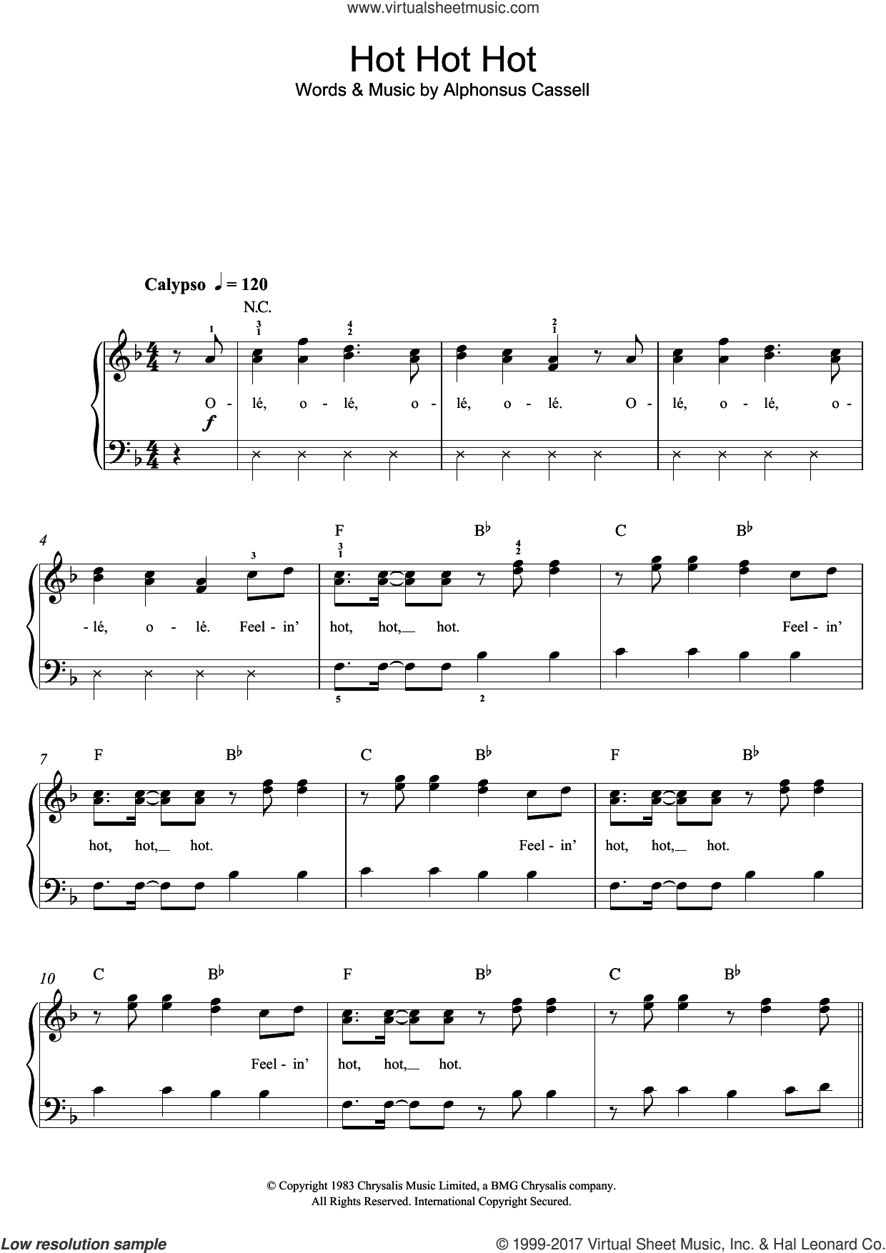 Hot Hot Hot sheet music for piano solo (beginners) by Arrow and Alphonsus Cassell, beginner piano (beginners). Score Image Preview.