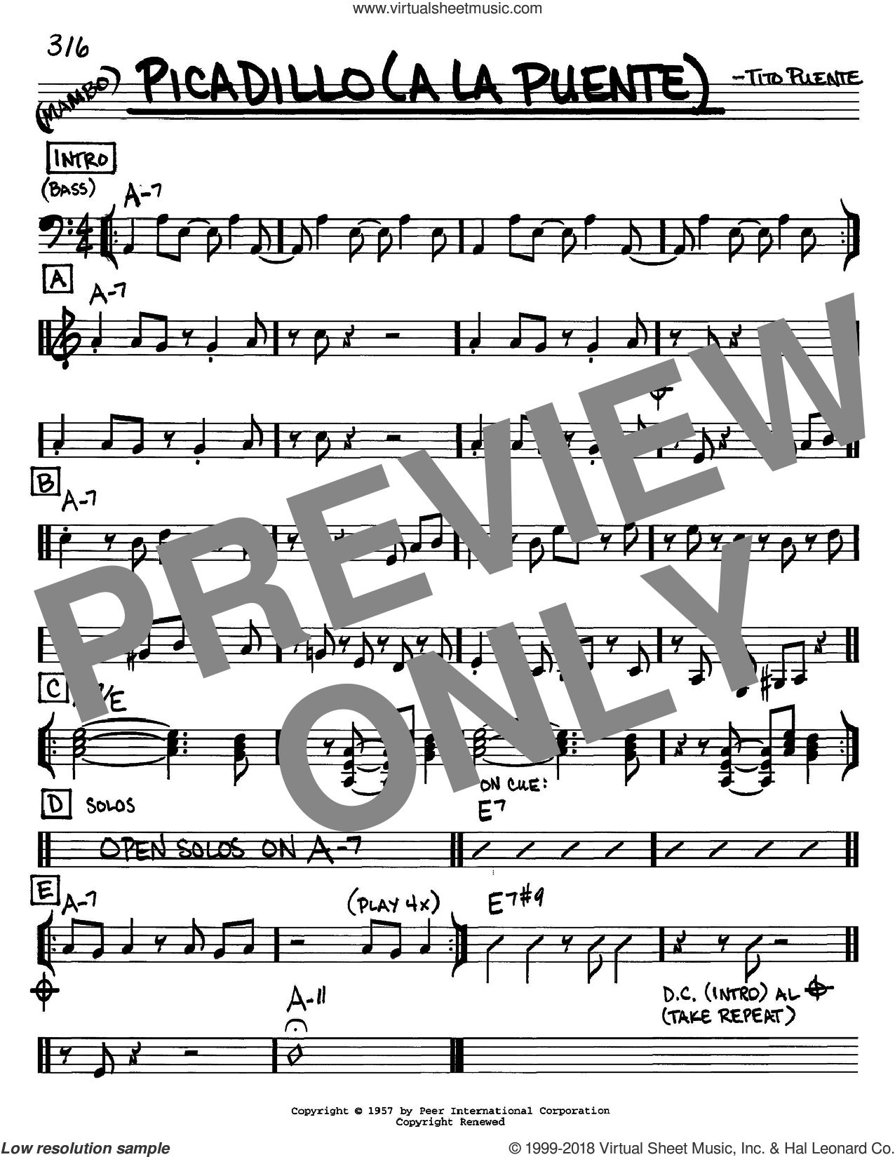 Picadillo (a la Puente) sheet music for voice and other instruments (C) by Tito Puente. Score Image Preview.