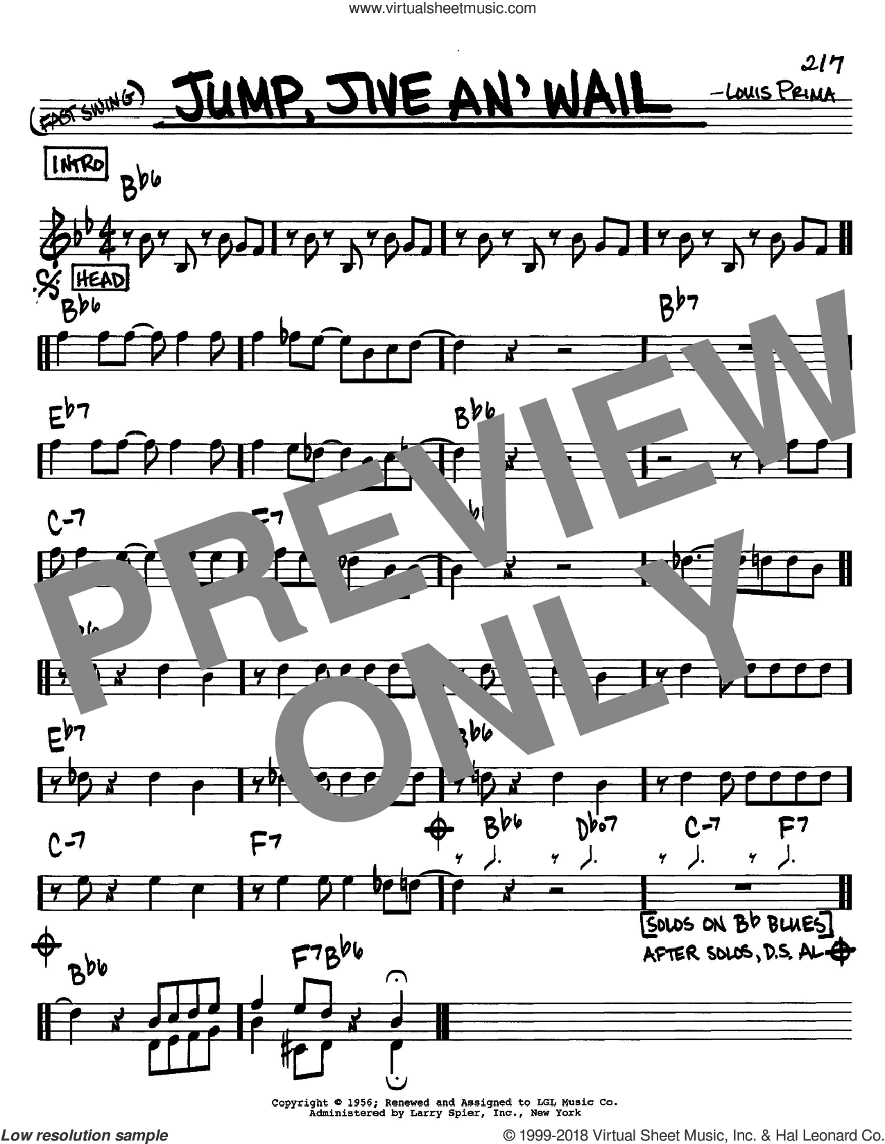 Jump, Jive An' Wail sheet music for voice and other instruments (C) by Louis Prima