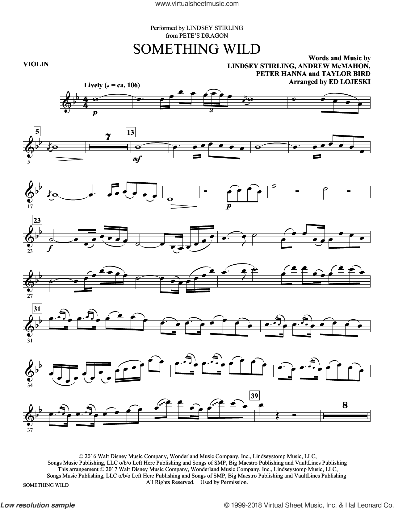 Something Wild (complete set of parts) sheet music for orchestra/band by Ed Lojeski, Andrew McMahon, Lindsey Stirling, Peter Hanna and Taylor Bird, intermediate skill level