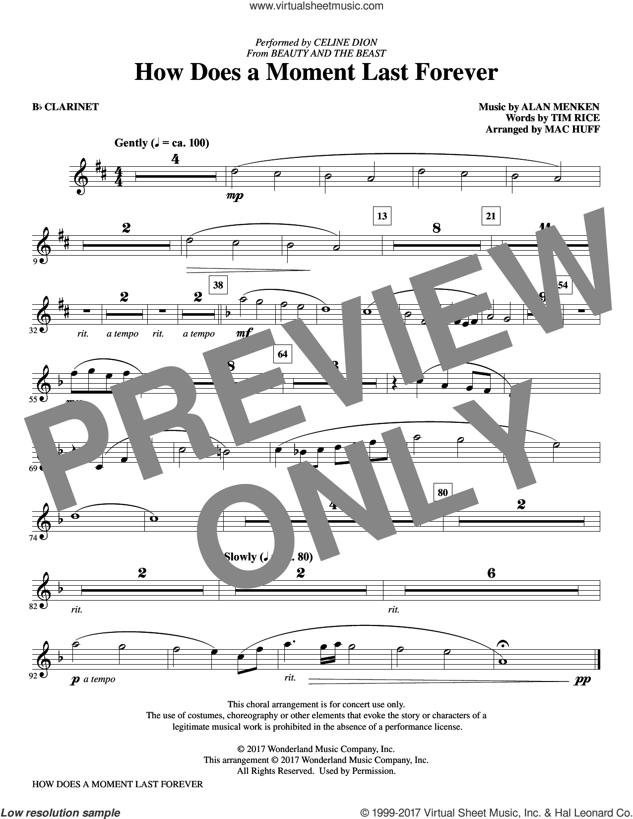 How Does a Moment Last Forever (complete set of parts) sheet music for orchestra/band by Mac Huff, Alan Menken and Tim Rice, intermediate skill level