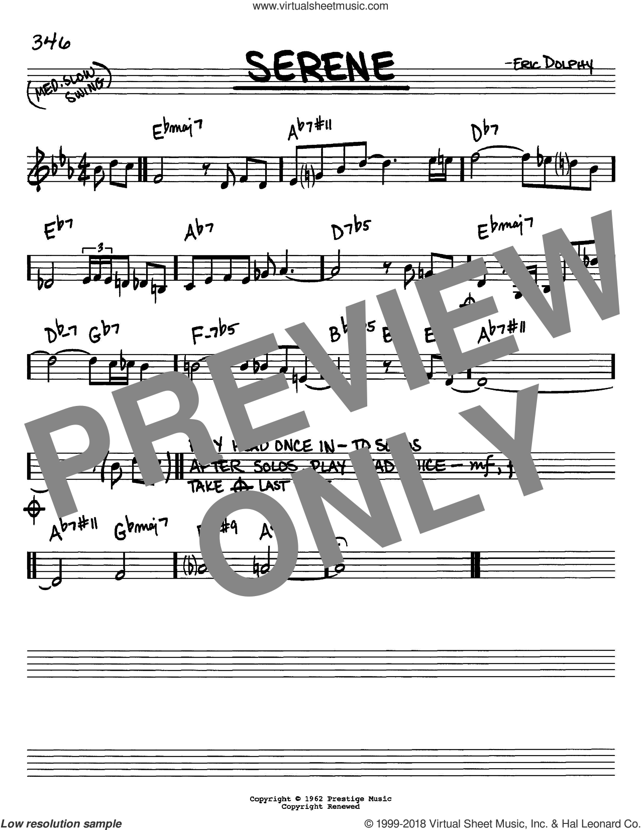 Serene sheet music for voice and other instruments (C) by Eric Dolphy. Score Image Preview.