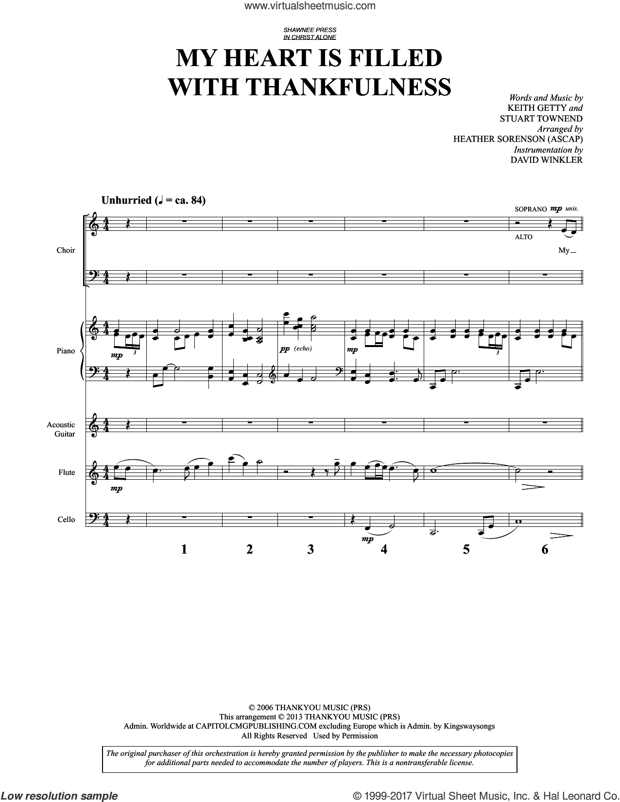 My Heart Is Filled with Thankfulness (COMPLETE) sheet music for orchestra/band by Heather Sorenson, Keith & Kristyn Getty, Keith Getty and Stuart Townend, intermediate. Score Image Preview.