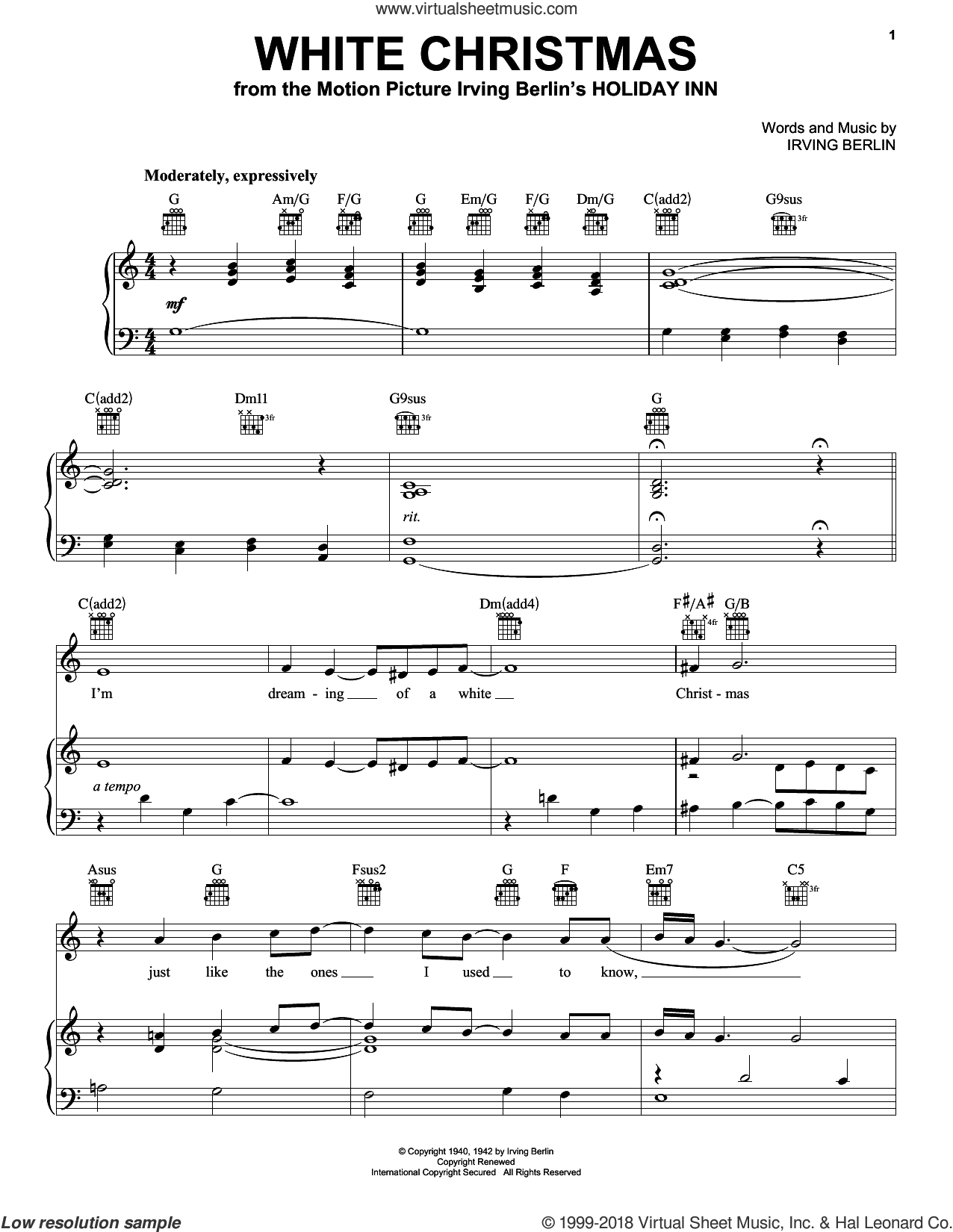 White Christmas sheet music for voice, piano or guitar by Pentatonix and Irving Berlin, intermediate skill level