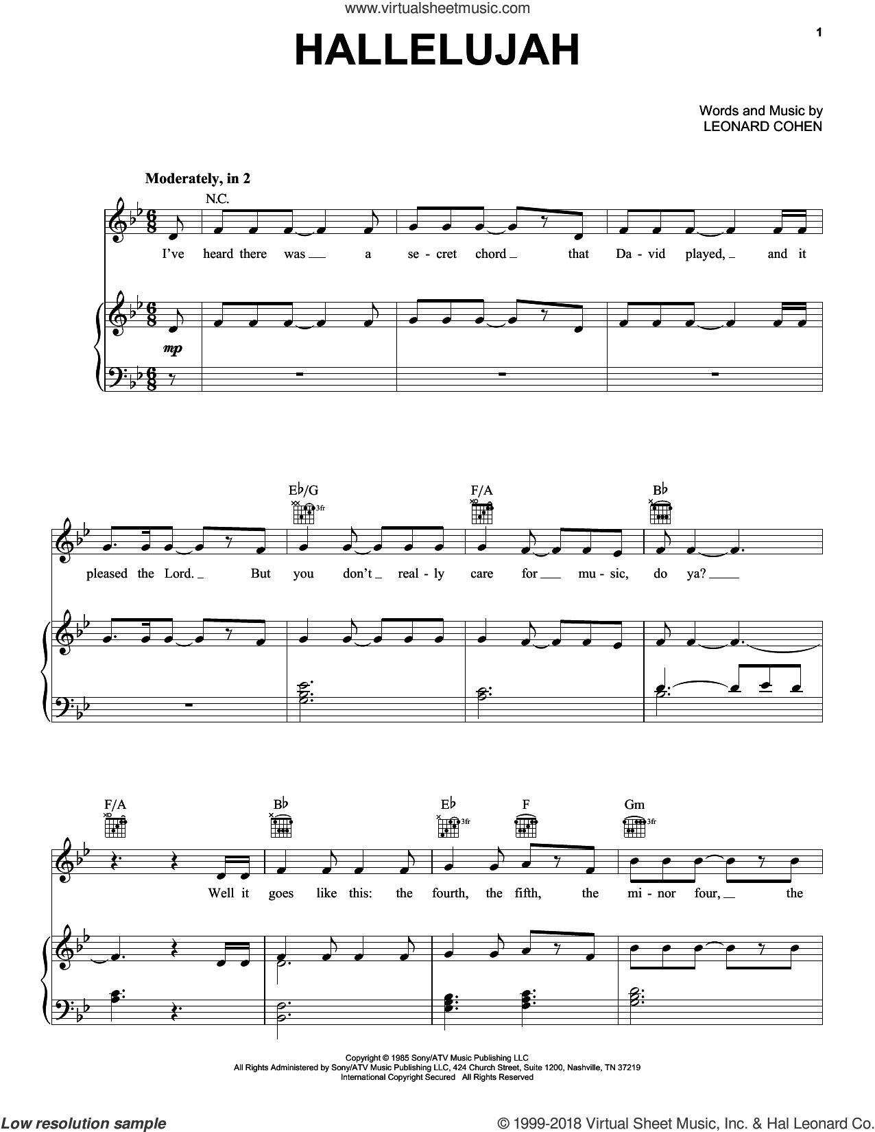 Hallelujah sheet music for voice, piano or guitar by Pentatonix, Justin Timberlake & Matt Morris featuring Charlie Sexton, Lee DeWyze and Leonard Cohen, intermediate skill level