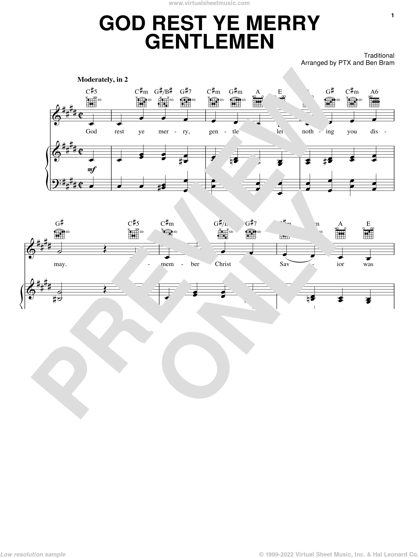 God Rest Ye Merry Gentlemen sheet music for voice, piano or guitar by Pentatonix and Miscellaneous, intermediate. Score Image Preview.