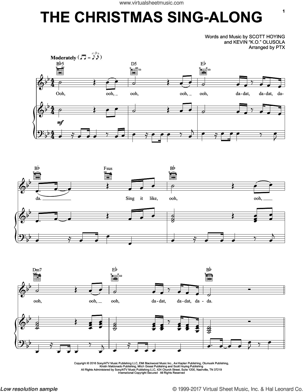 The Christmas Sing-Along sheet music for voice, piano or guitar by Pentatonix, Kevin 'K.O.' Olusola and Scott Hoying, intermediate skill level