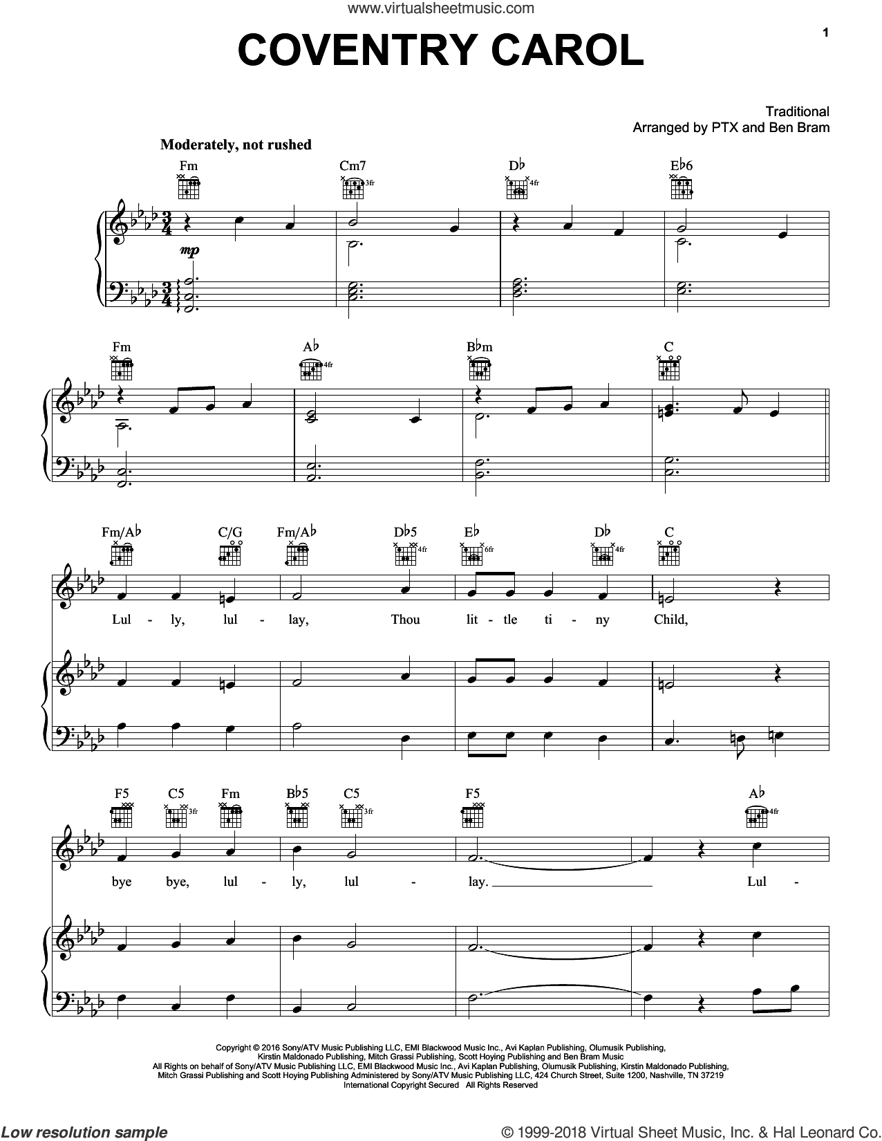 Coventry Carol sheet music for voice, piano or guitar by Pentatonix and Miscellaneous, intermediate skill level