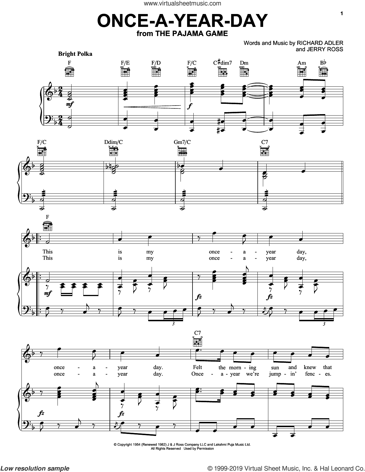 Once-A-Year-Day sheet music for voice, piano or guitar by Adler & Ross, Jerry Ross and Richard Adler, intermediate skill level