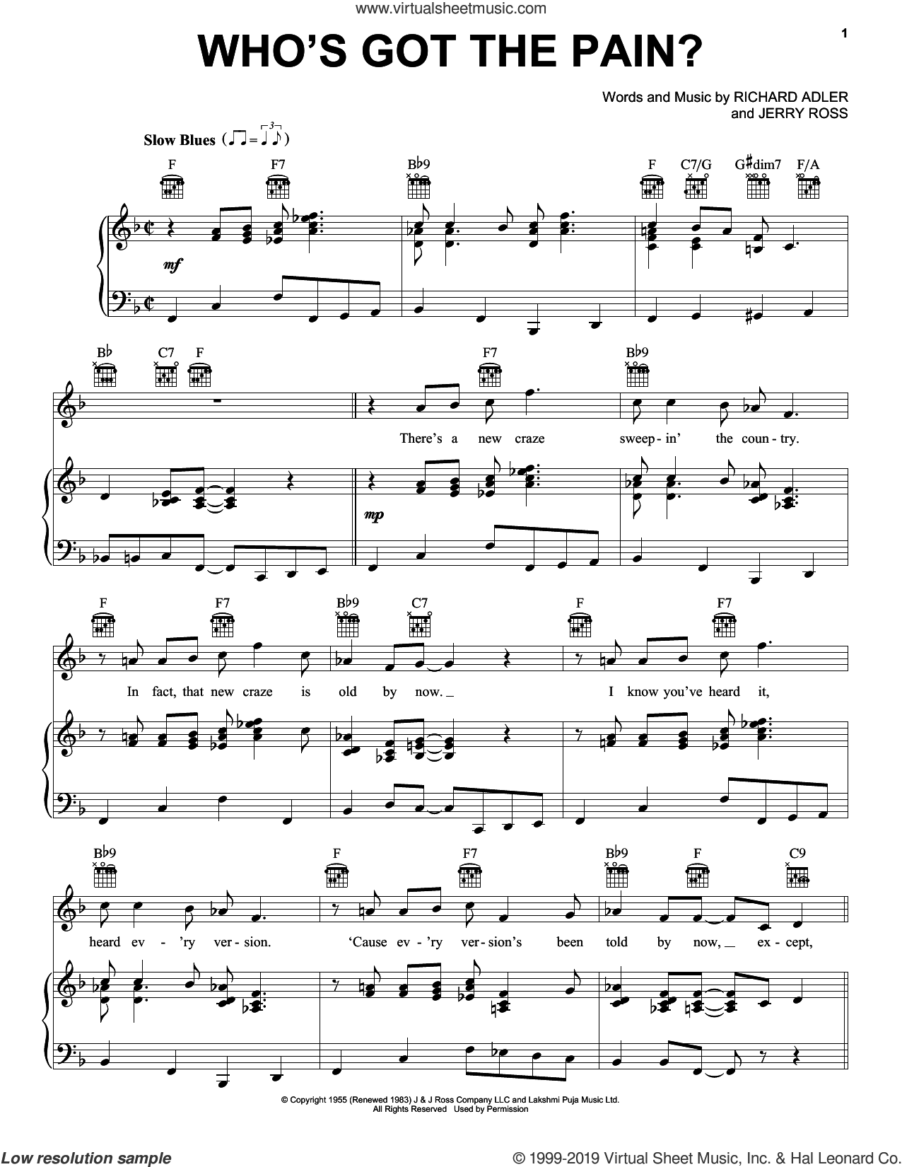 Who's Got The Pain? sheet music for voice, piano or guitar by Adler & Ross, Jerry Ross and Richard Adler, intermediate skill level