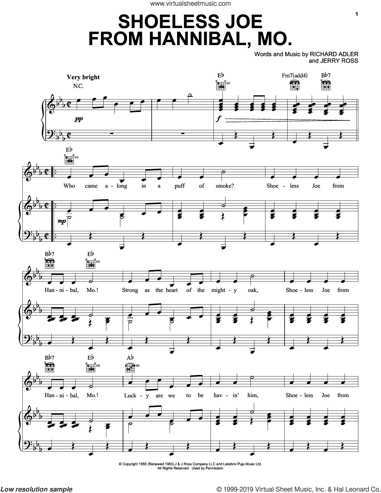 Shoeless Joe From Hannibal, Mo. sheet music for voice, piano or guitar by Adler & Ross, Jerry Ross and Richard Adler, intermediate skill level