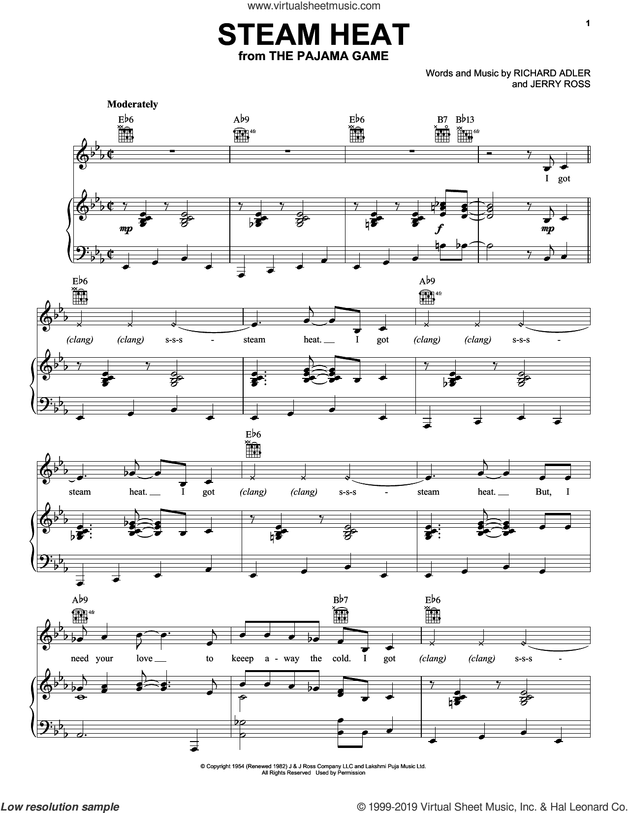 Steam Heat sheet music for voice, piano or guitar by Adler & Ross, Jerry Ross and Richard Adler, intermediate skill level