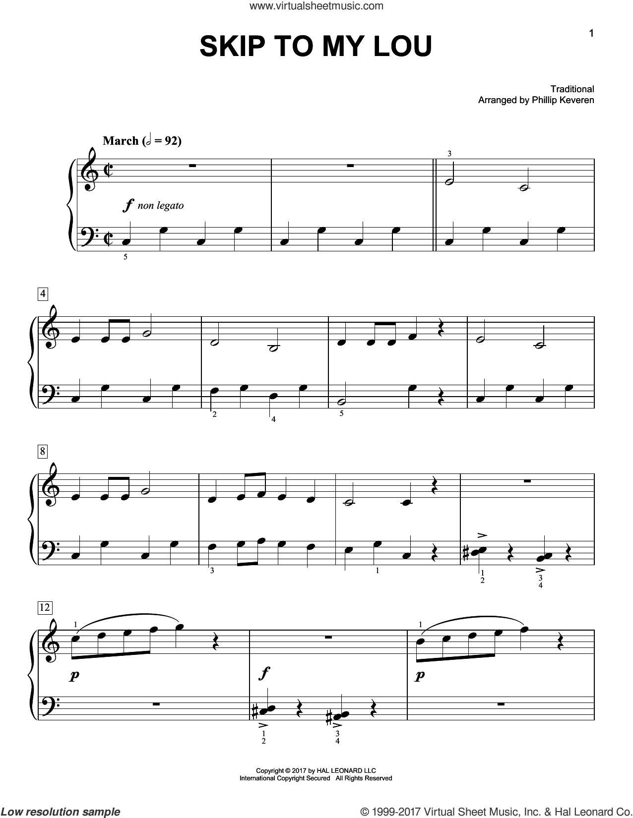 Skip To My Lou sheet music for piano solo by Phillip Keveren and Miscellaneous, easy. Score Image Preview.