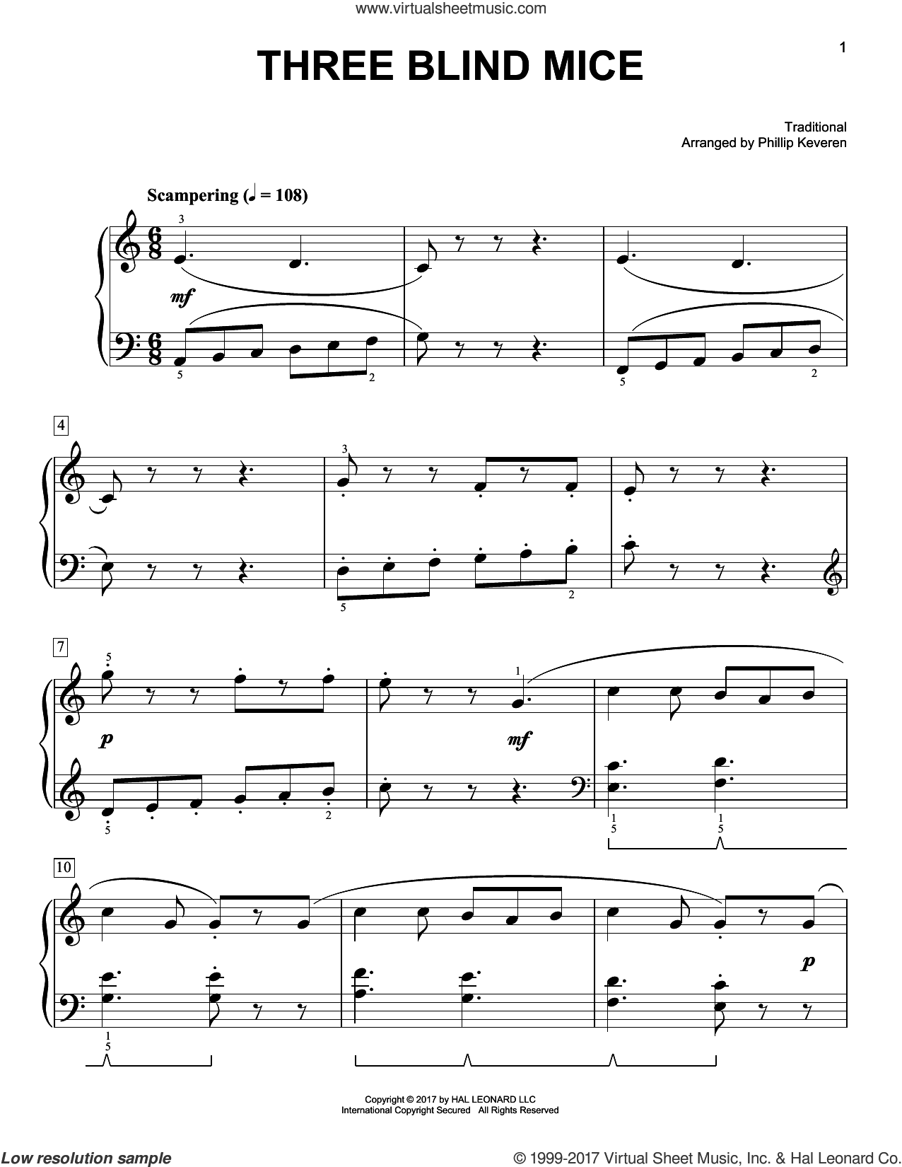 Three Blind Mice sheet music for piano solo by Phillip Keveren and Miscellaneous, easy skill level