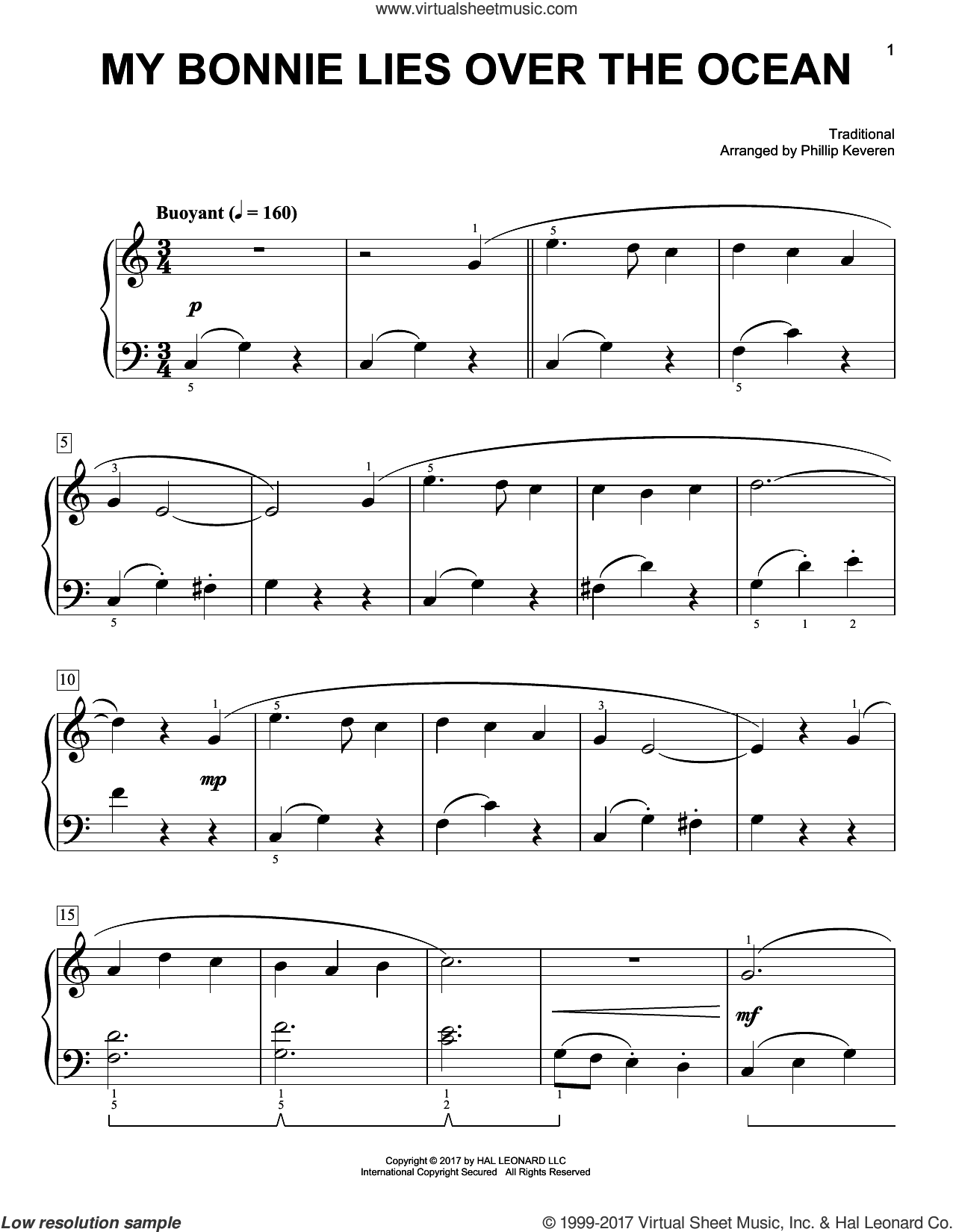 My Bonnie Lies Over The Ocean sheet music for piano solo by Phillip Keveren and Miscellaneous, easy. Score Image Preview.