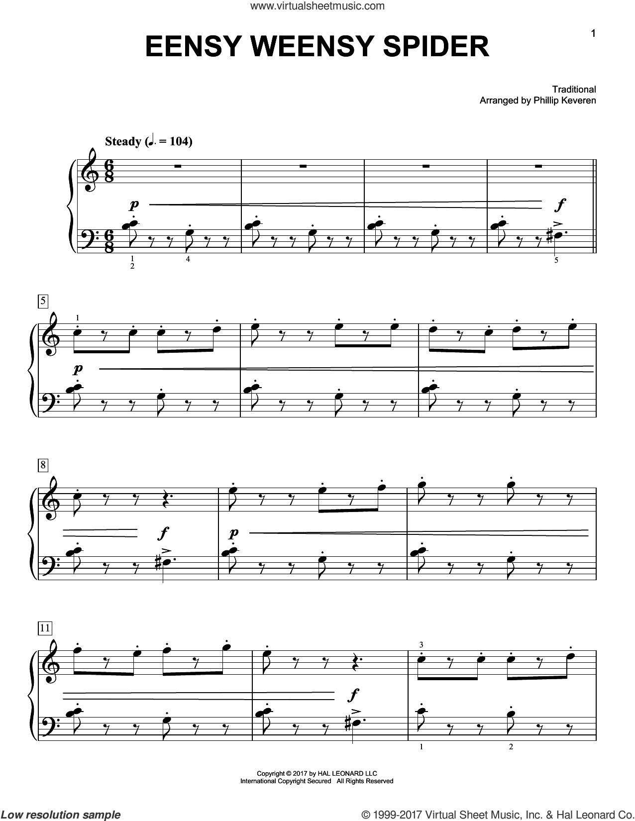 Eensy Weensy Spider sheet music for piano solo by Phillip Keveren and Miscellaneous. Score Image Preview.