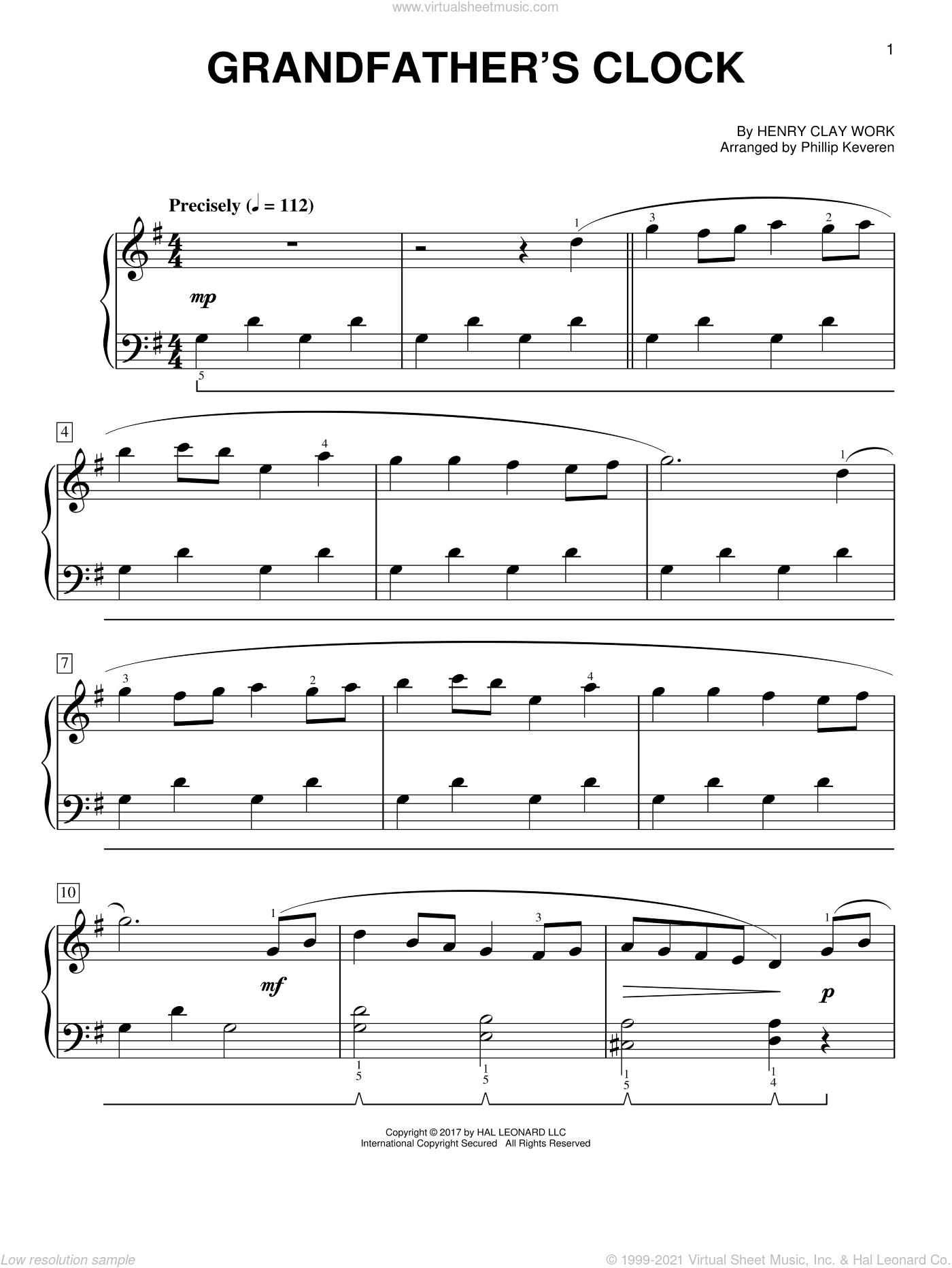 Grandfather's Clock sheet music for piano solo by Henry Clay Work and Phillip Keveren, easy. Score Image Preview.