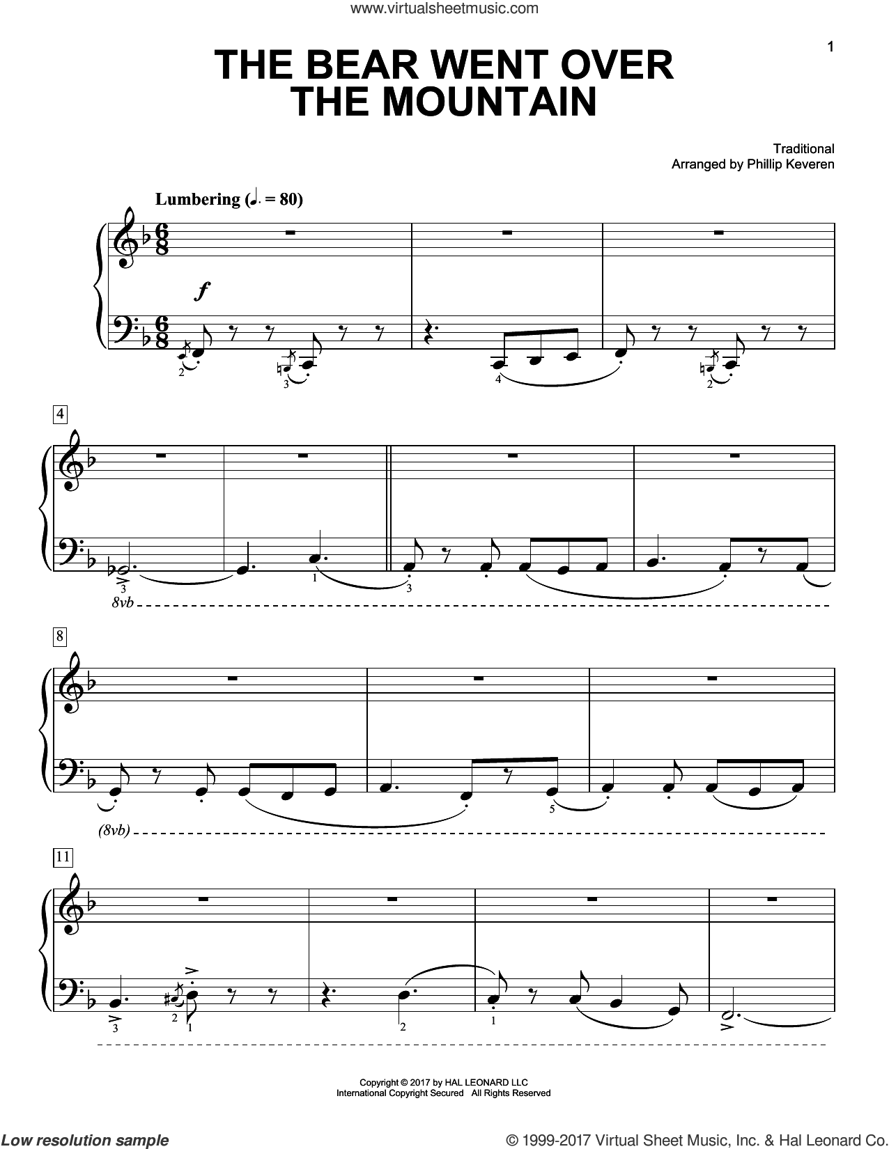 The Bear Went Over The Mountain sheet music for piano solo by Phillip Keveren and Miscellaneous, easy skill level