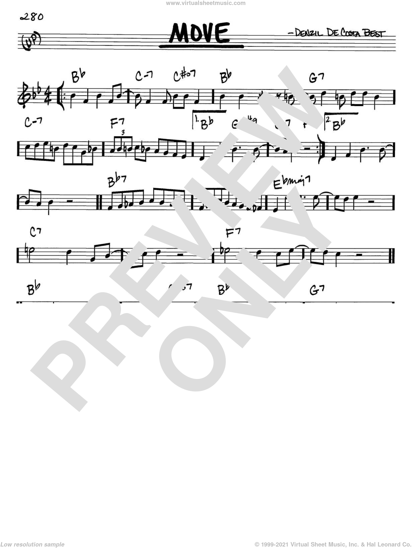 Move sheet music for voice and other instruments (in C) by Miles Davis and Denzil De Costa Best, intermediate skill level