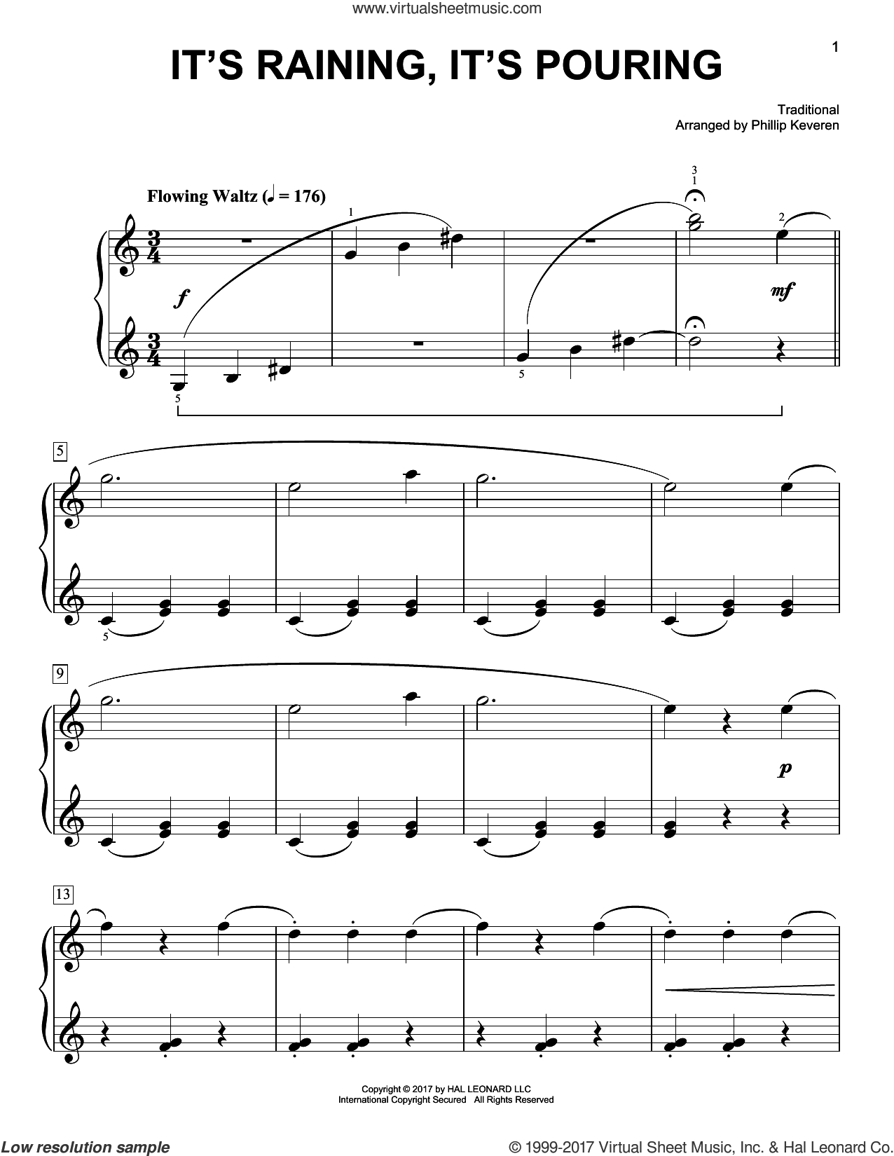 It's Raining, It's Pouring sheet music for piano solo by Phillip Keveren and Miscellaneous, easy skill level