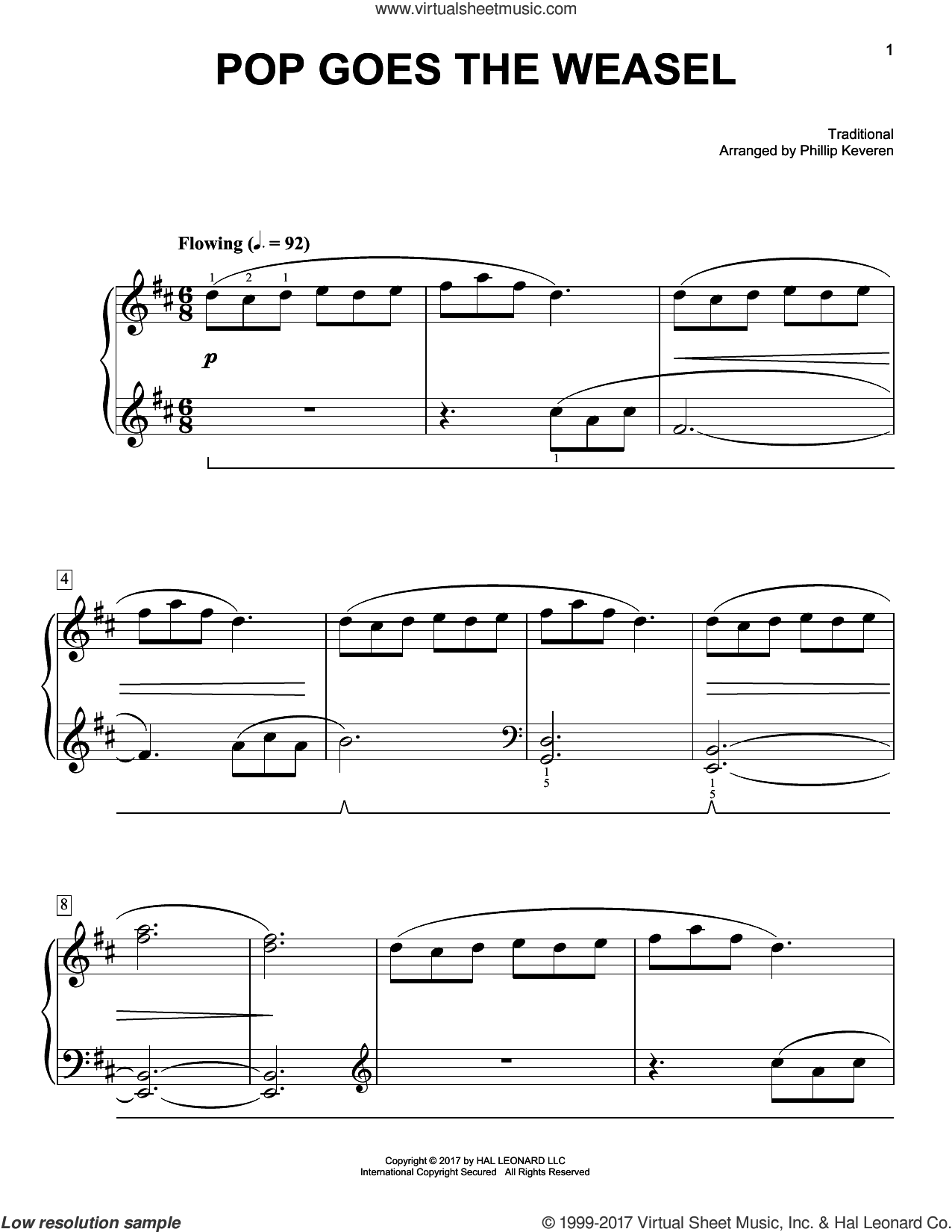 Pop Goes The Weasel sheet music for piano solo by Phillip Keveren and Miscellaneous, easy skill level