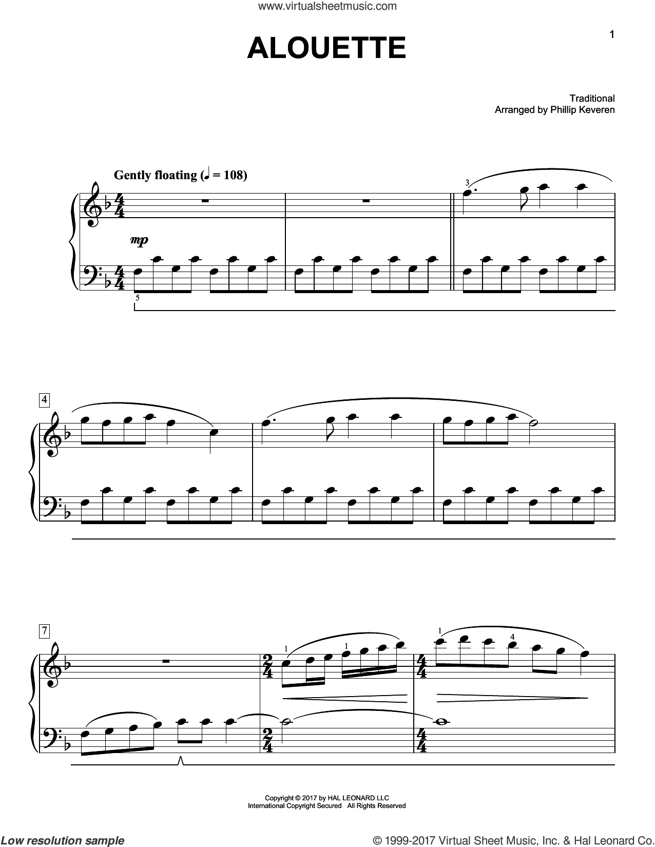 Alouette sheet music for piano solo by Phillip Keveren and Miscellaneous, easy