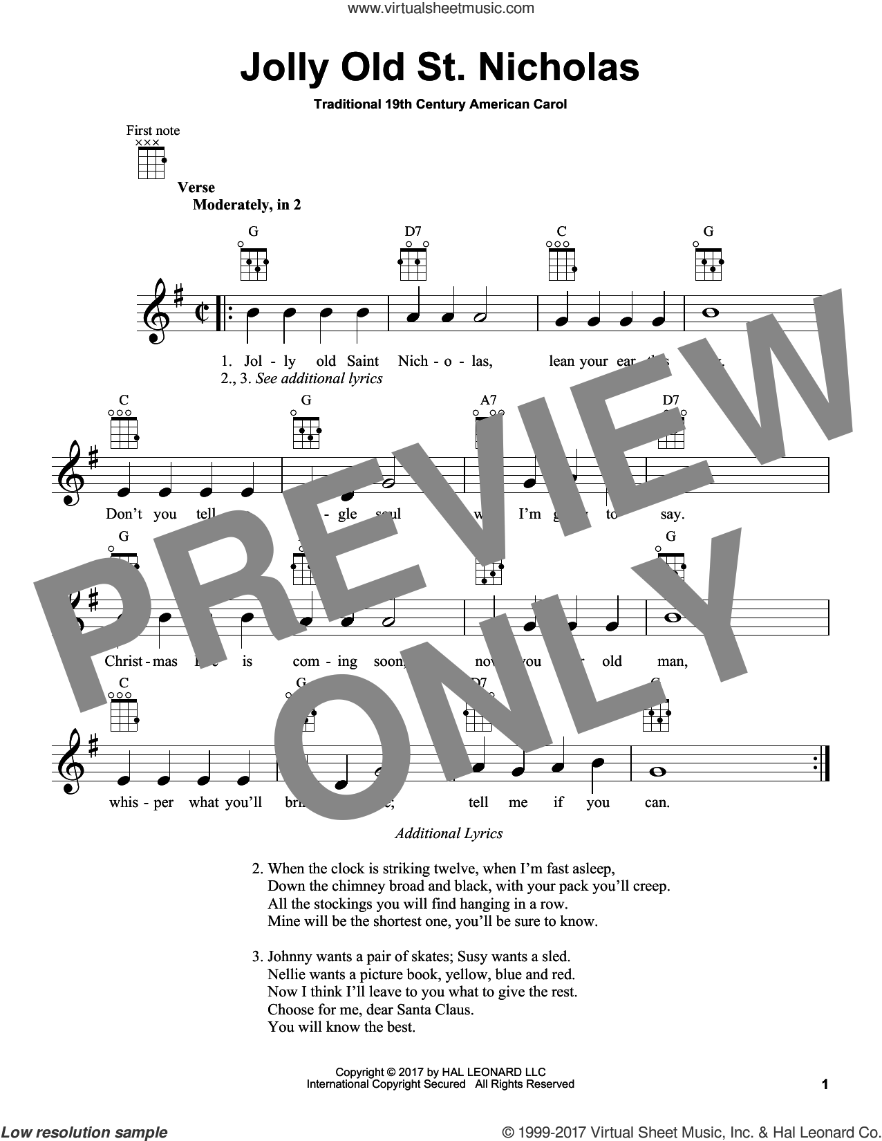Jolly Old St. Nicholas sheet music for ukulele by Anonymous and Miscellaneous, intermediate skill level